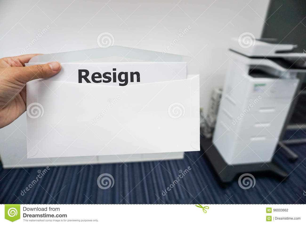 concept of women submit resignation letter to her boss in office
