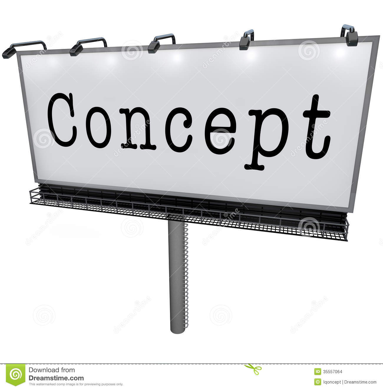 Concept word on a billboard or sign advertising a new idea, innovation ...