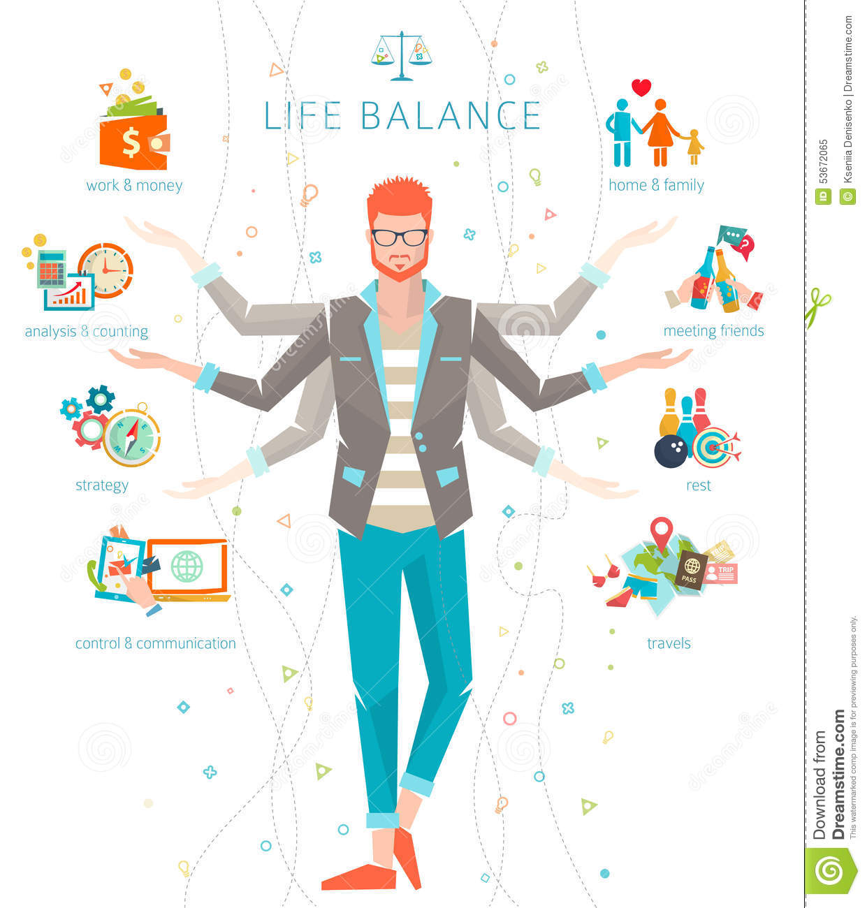 Concept Of Work And Life Balance. Royalty Free Vector