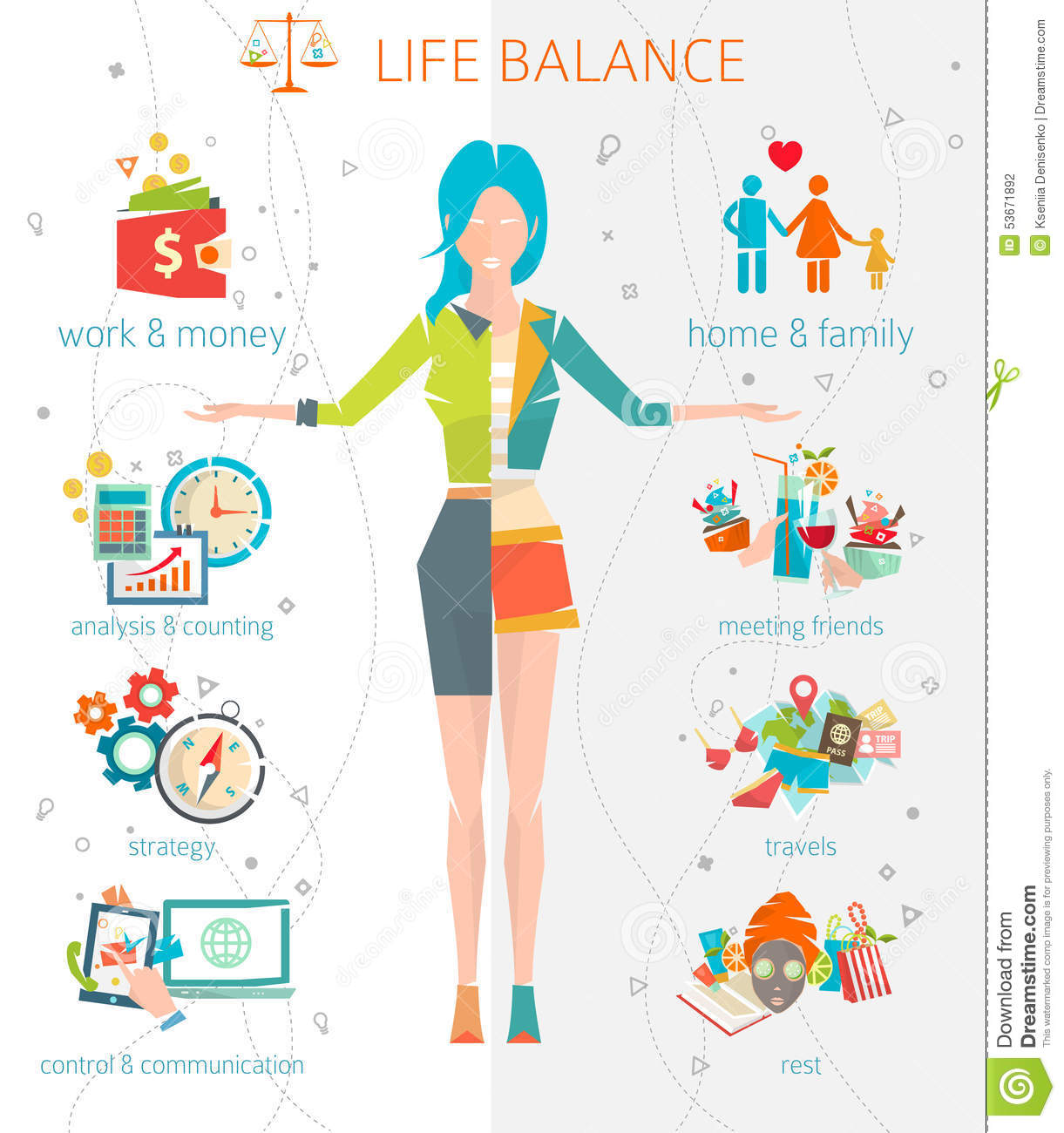 Concept Of Work And Life Balance. Illustration, Home.