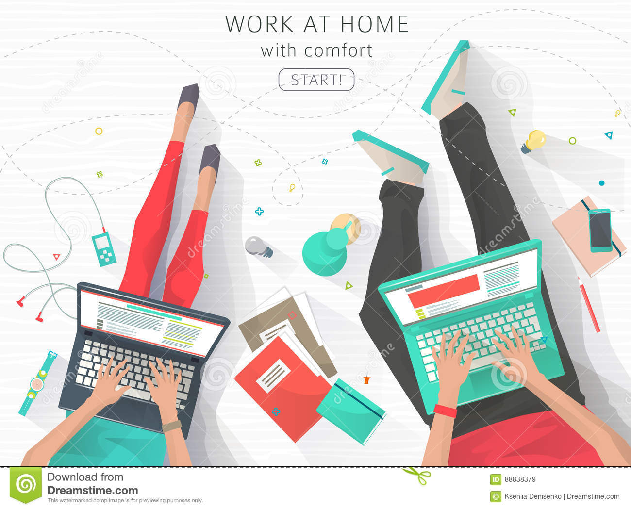 Concept Of Working At The Home Stock Vector - Illustration of ...