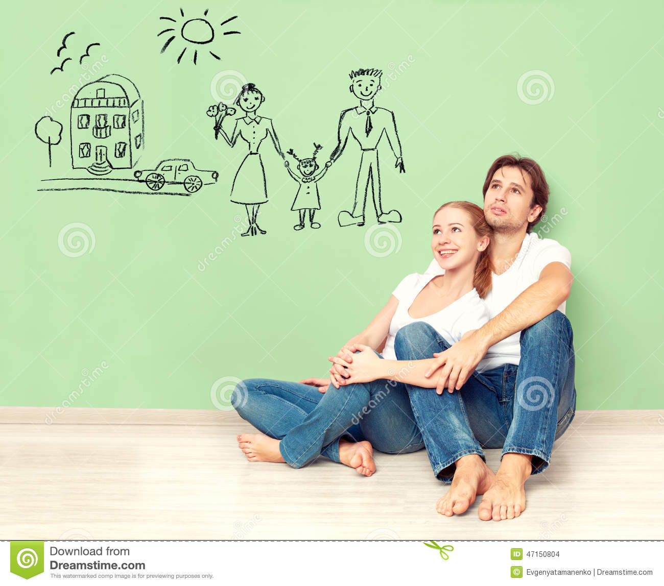 Concept young couple dreaming of new house car child financial well being stock photo - Young couple modern homes ...