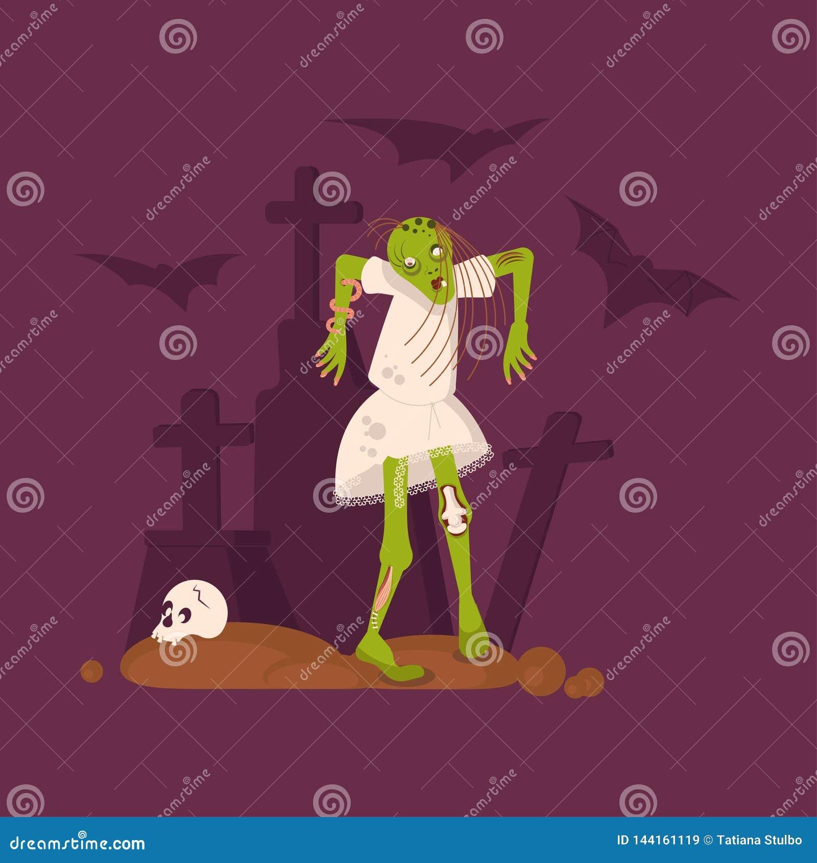 Halloween Nightmare landscape with dead girl