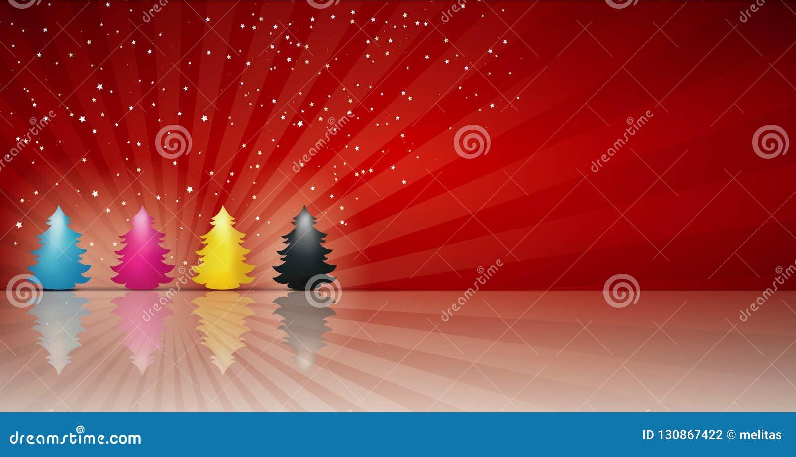 Concepten cmyk Kerstboom in cyaan magenta gele zwarte Vrolijke Kerstmis Rode achtergrond