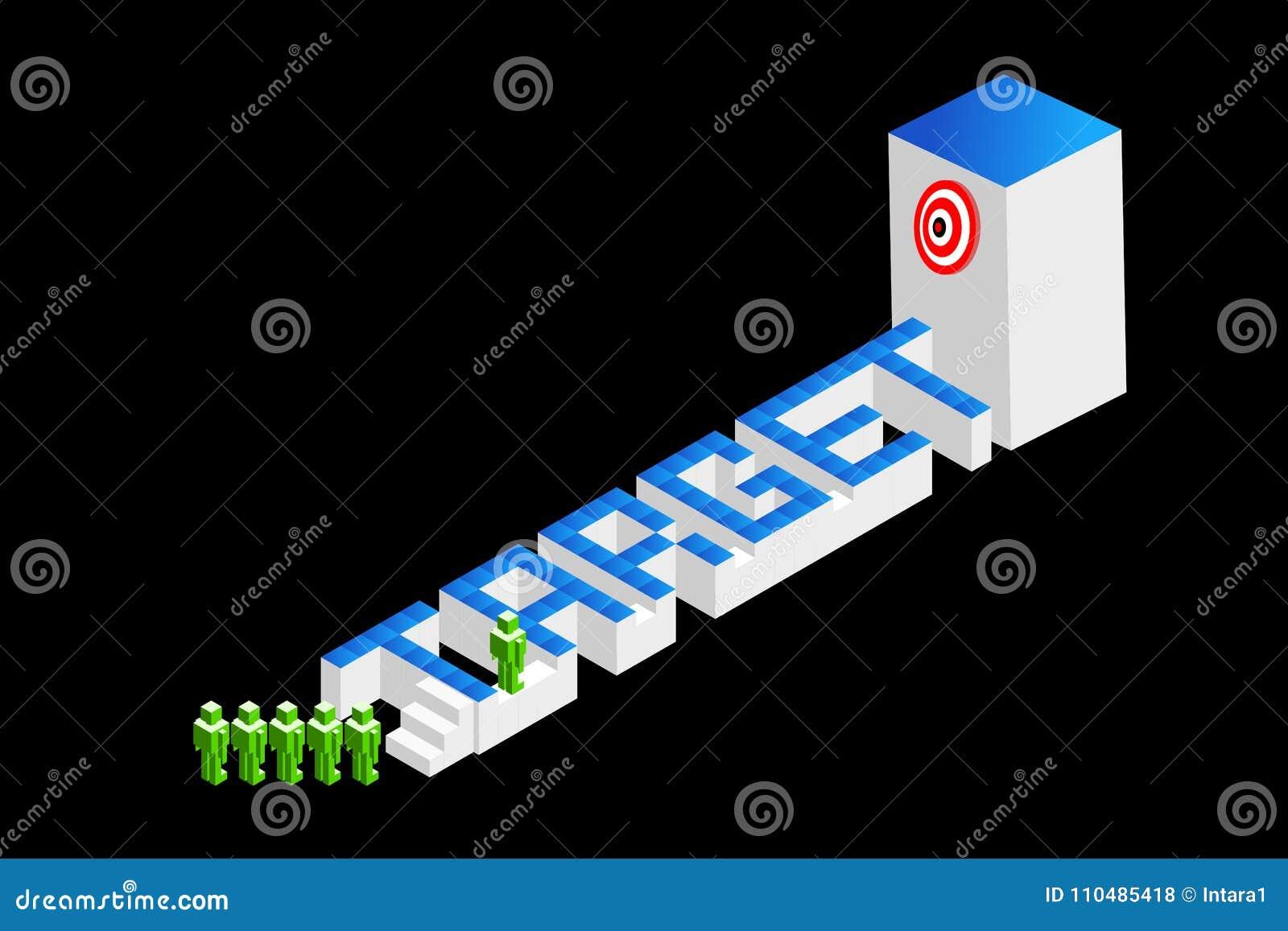 Concepten groepswerk, strategische planning, of de concurrentie Vector illustratie Geïsoleerde op zwarte achtergrond