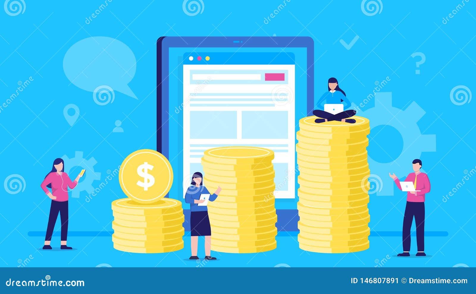 Concepten vectorillustratie van mensen die muntstukken online dragen in tabletzakgeld grafiek van kolommen van muntstukken Manier