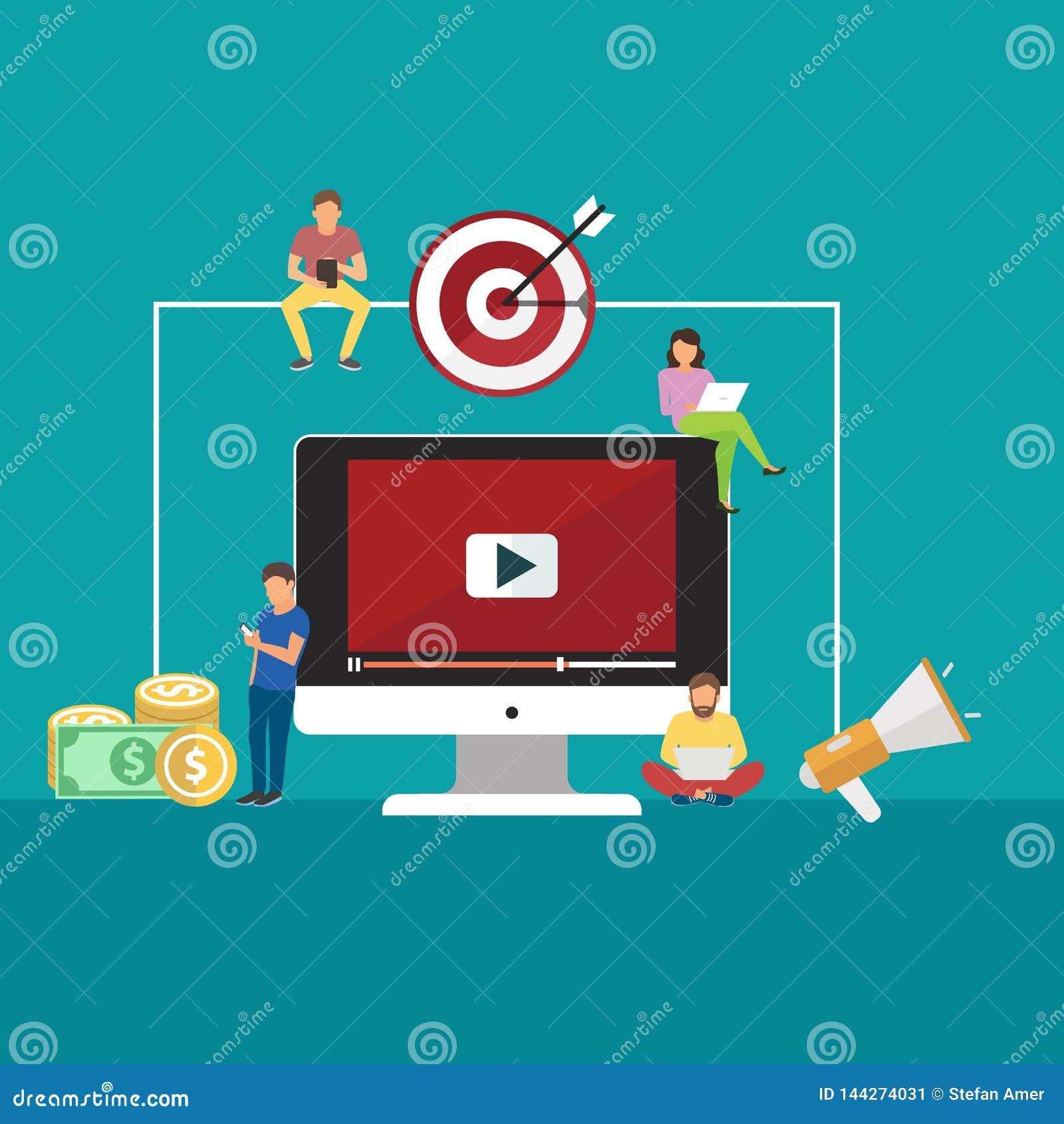 Concepten voor video en digitale marketing, reclame, sociale media, Web en mobiele toepassing en de diensten, e-commerce, SEO