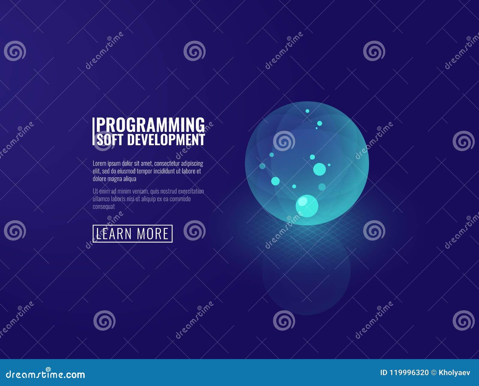 Conceptenontwikkeling van transparante lichtgevende de bal isometrische vector van het nieuwe technologieënpictogram