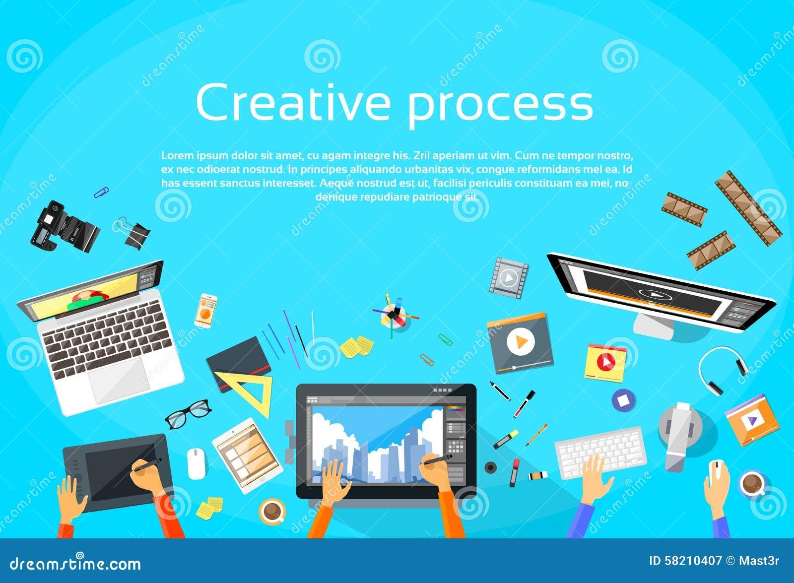 Concepteur de processus créatif Team Flat Vector de Digital