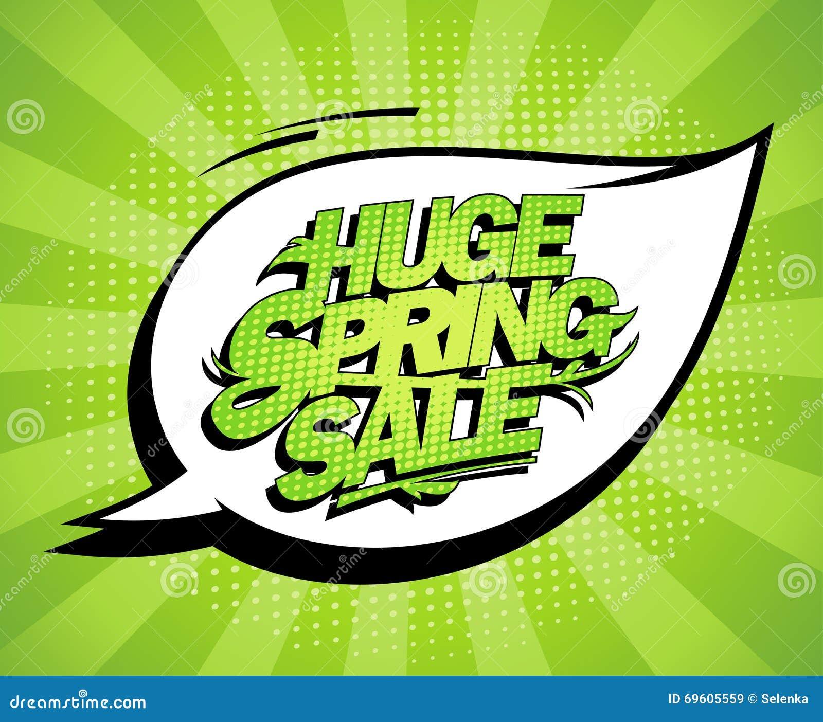 Conception énorme de vente de ressort, bannière verte fraîche de la publicité