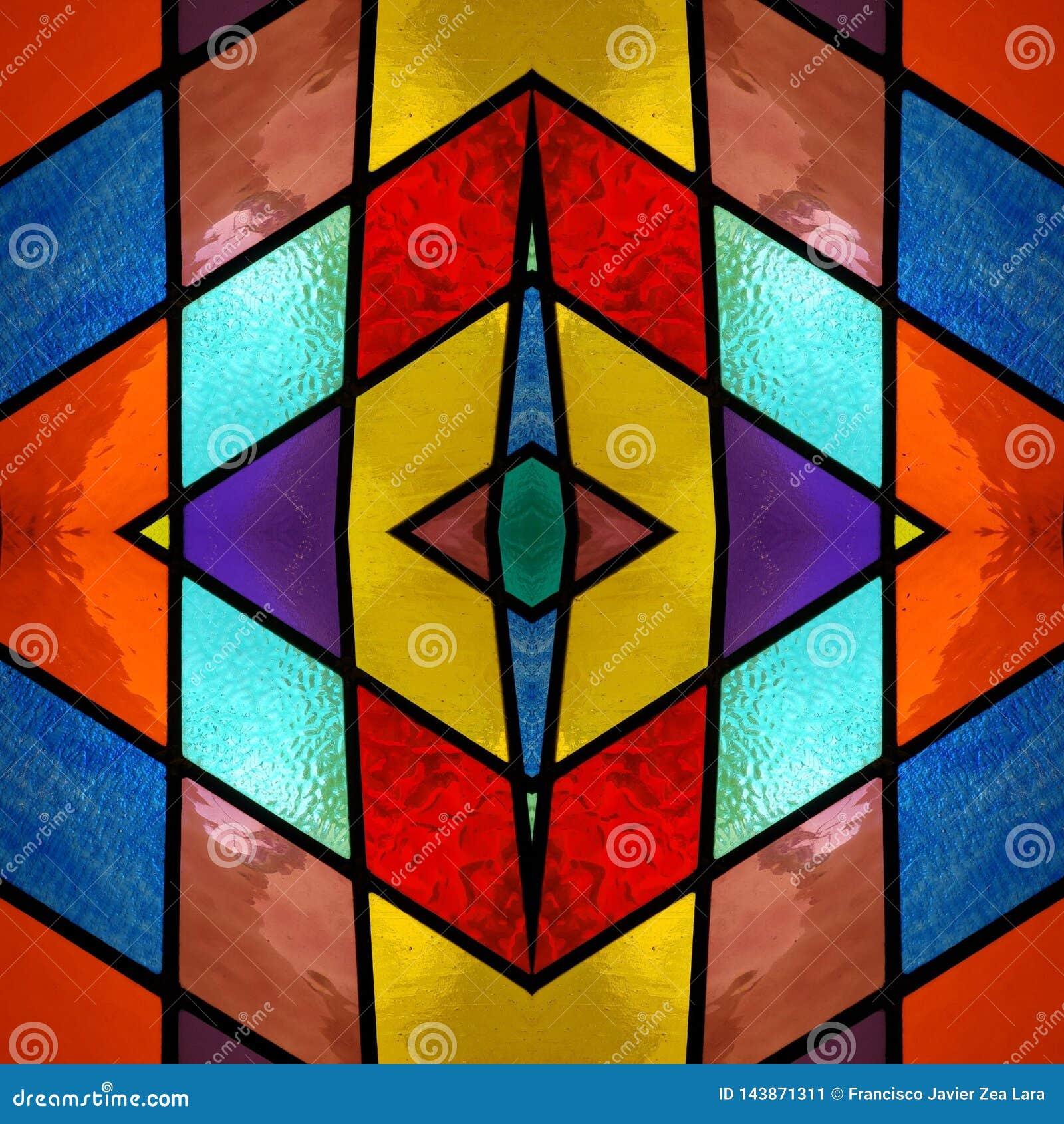 Conception abstraite avec le verre souill? dans diverses couleurs, le mat?riel pour la d?coration des fen?tres, le fond et la tex