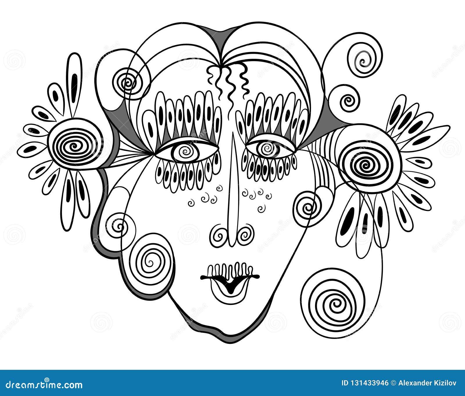 Conception abstraite avec le visage de la femme
