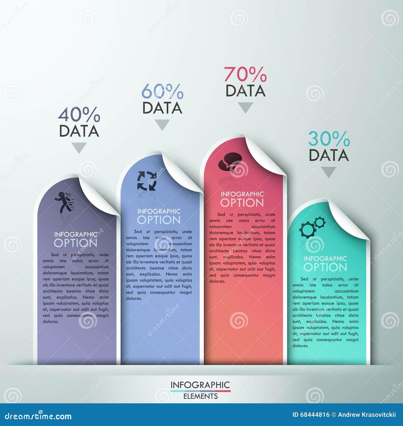 Conception abstraite de calibre d infographics avec les éléments de papier numérotés - dirigez l illustration