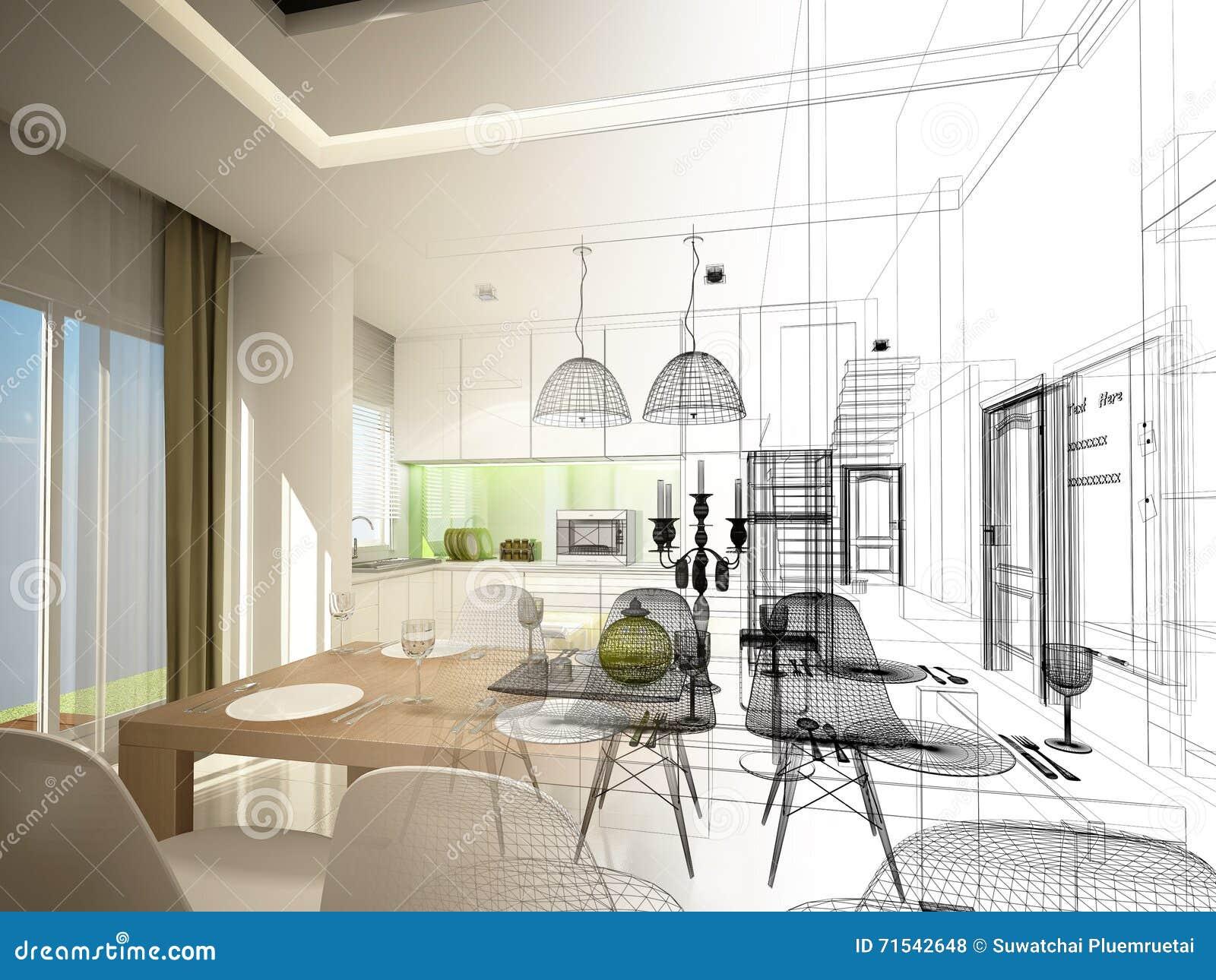 Conception abstraite de croquis de diner d intérieur et de pièce de cuisine, 3d
