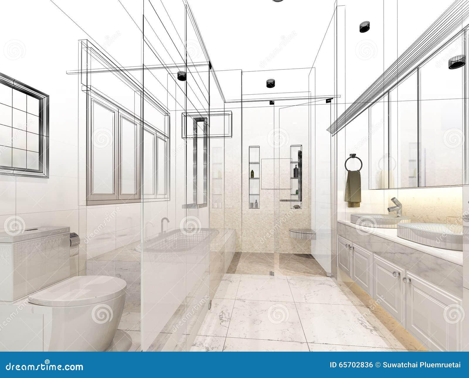 Conception abstraite de croquis de salle de bains intérieure