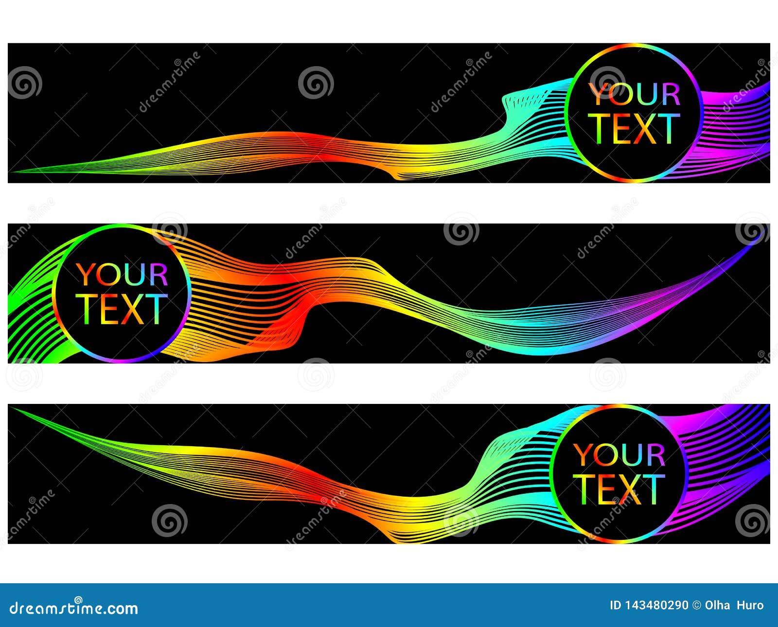 Conception abstraite de fond Mouvement de vague coloré sur le fond foncé Ensemble de drapeaux