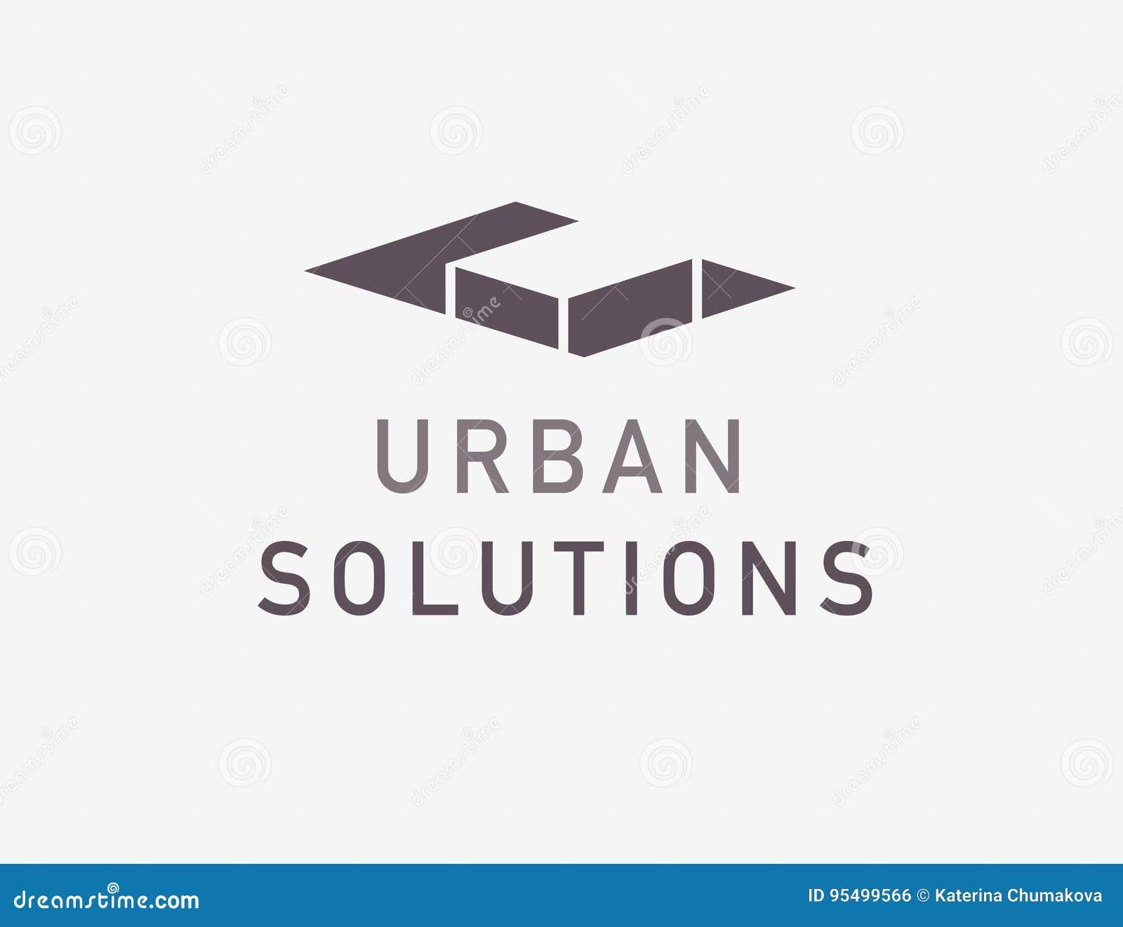 Conception abstraite plate de logo de bureau d architecte de vecteur d isolement sur le fond clair