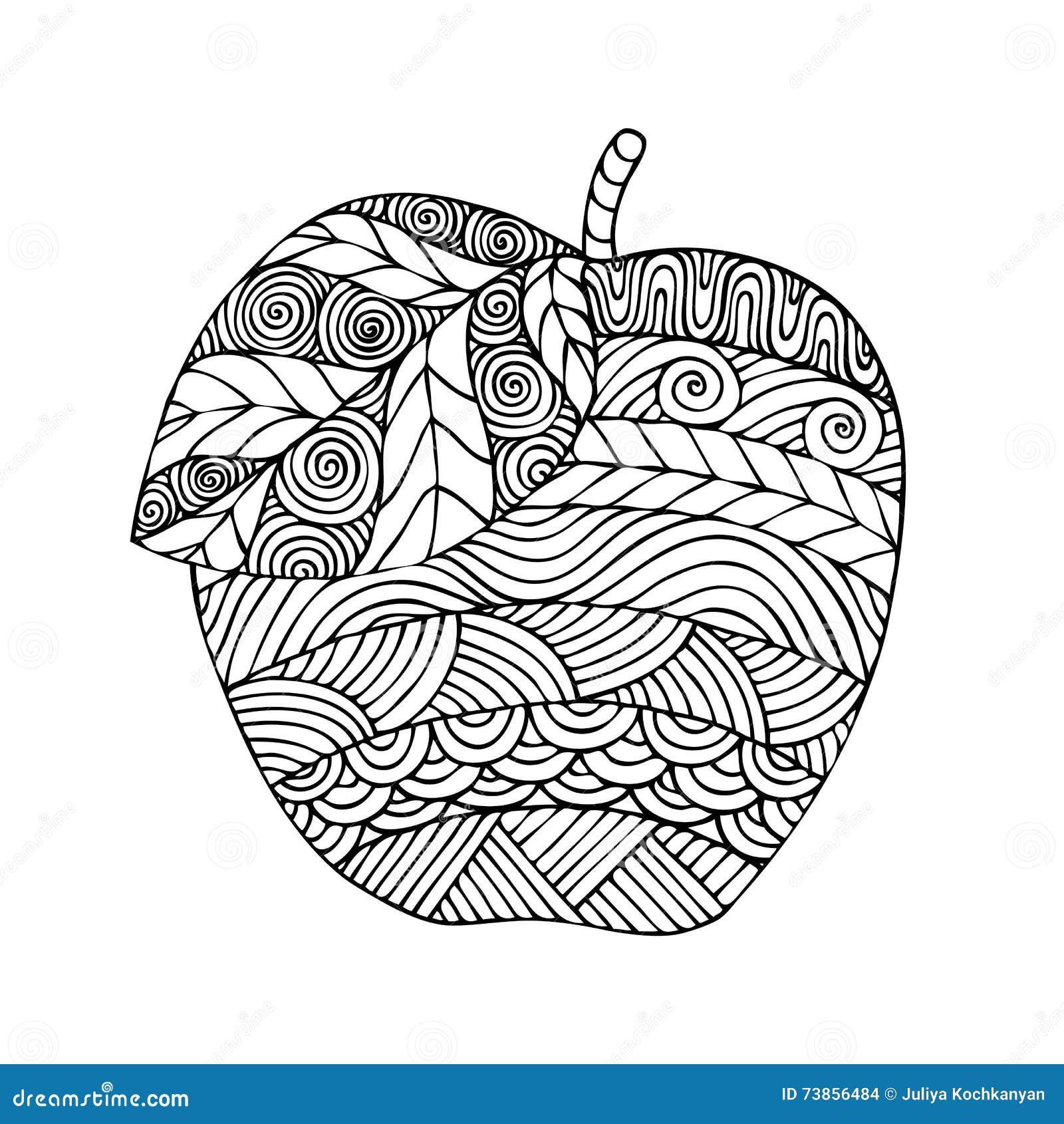 Conception adulte de page de livre de coloriage avec l - Dessin d une pomme ...