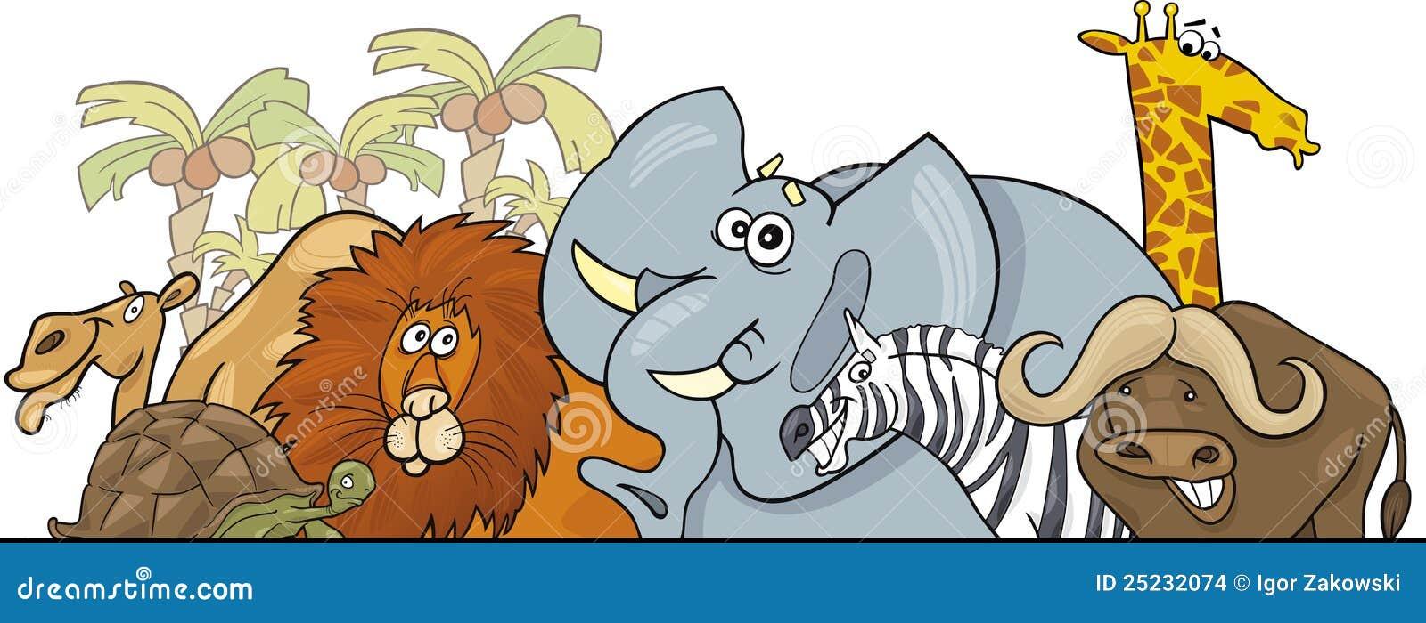 Conception Africaine D'animaux Sauvages De Safari De Dessin Animé Images Stock