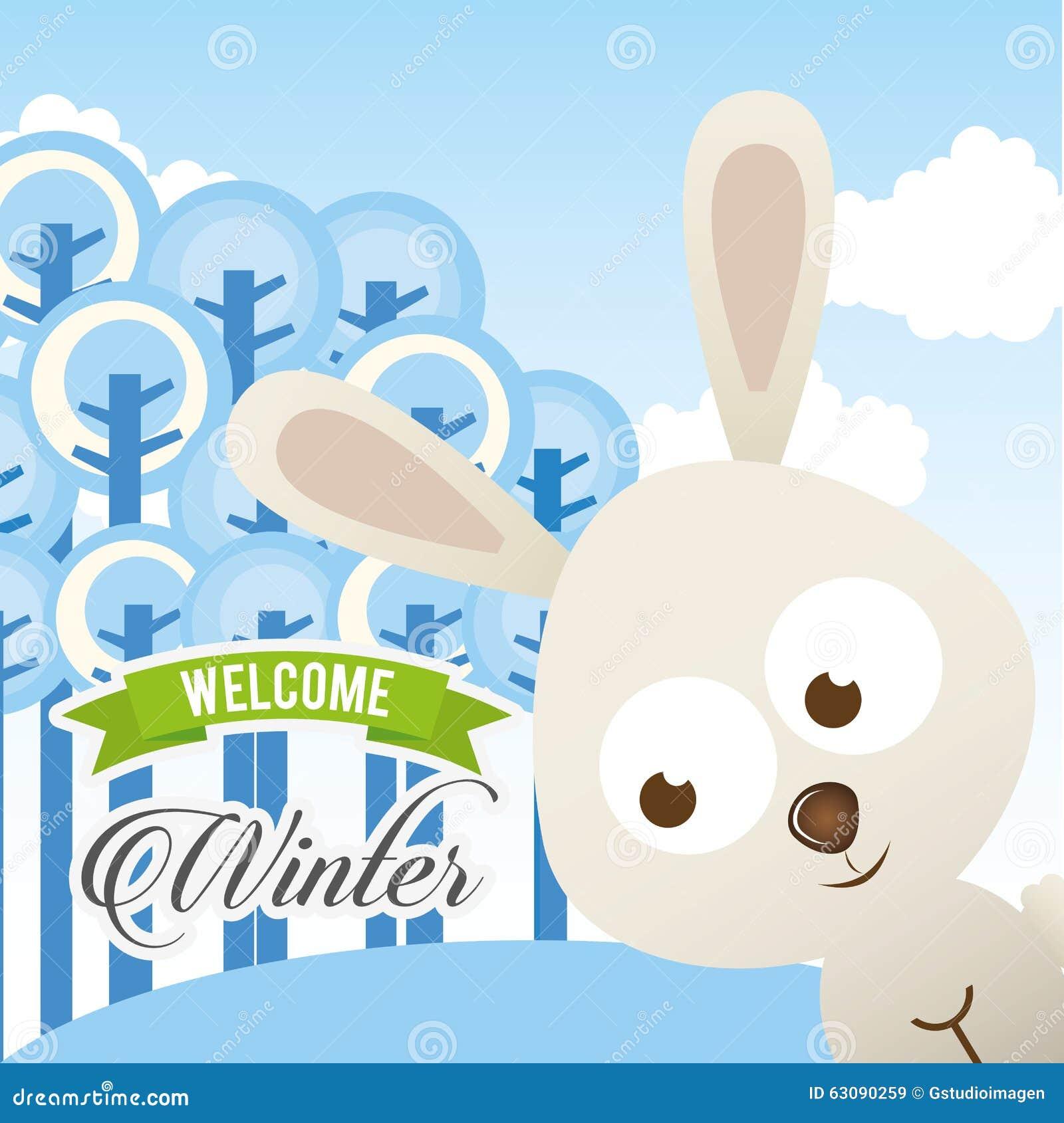 Download Conception Bienvenue D'hiver Illustration de Vecteur - Illustration du vacances, élément: 63090259