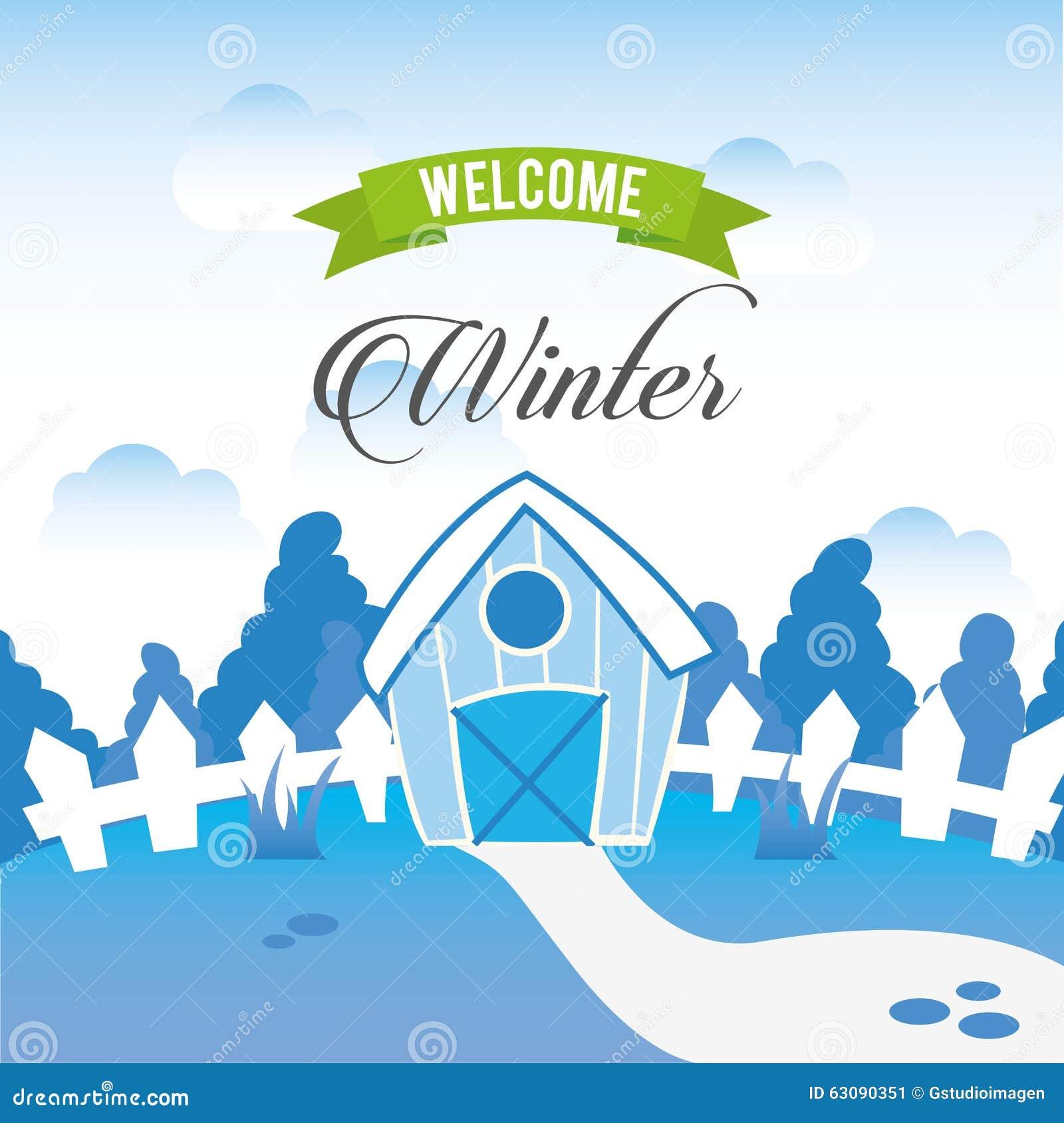 Download Conception Bienvenue D'hiver Illustration de Vecteur - Illustration du graphisme, salutation: 63090351