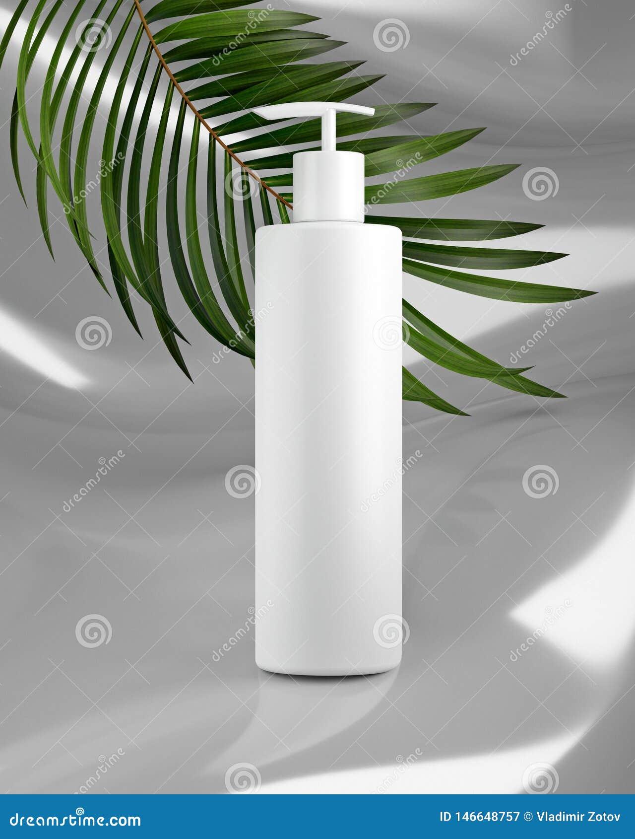 Conception blanche de cr?me cosm?tique naturelle, s?rum, emballage de bouteille de blanc de soins de la peau avec l herbe de feui