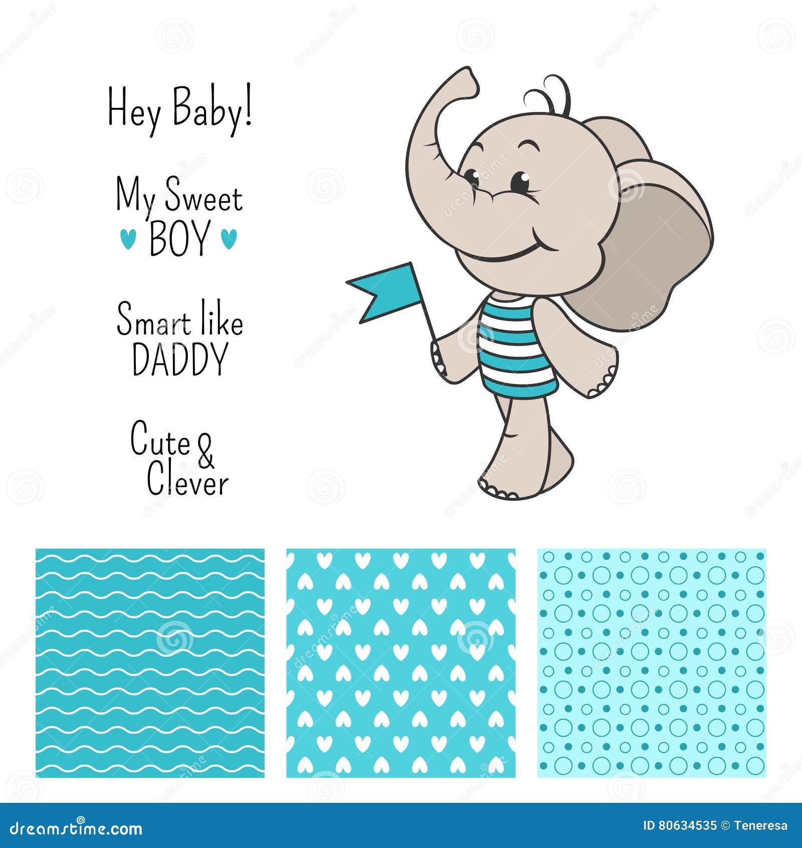 Conception Bleue Déléphant De Bébé Garçon Avec Les Modèles Sans