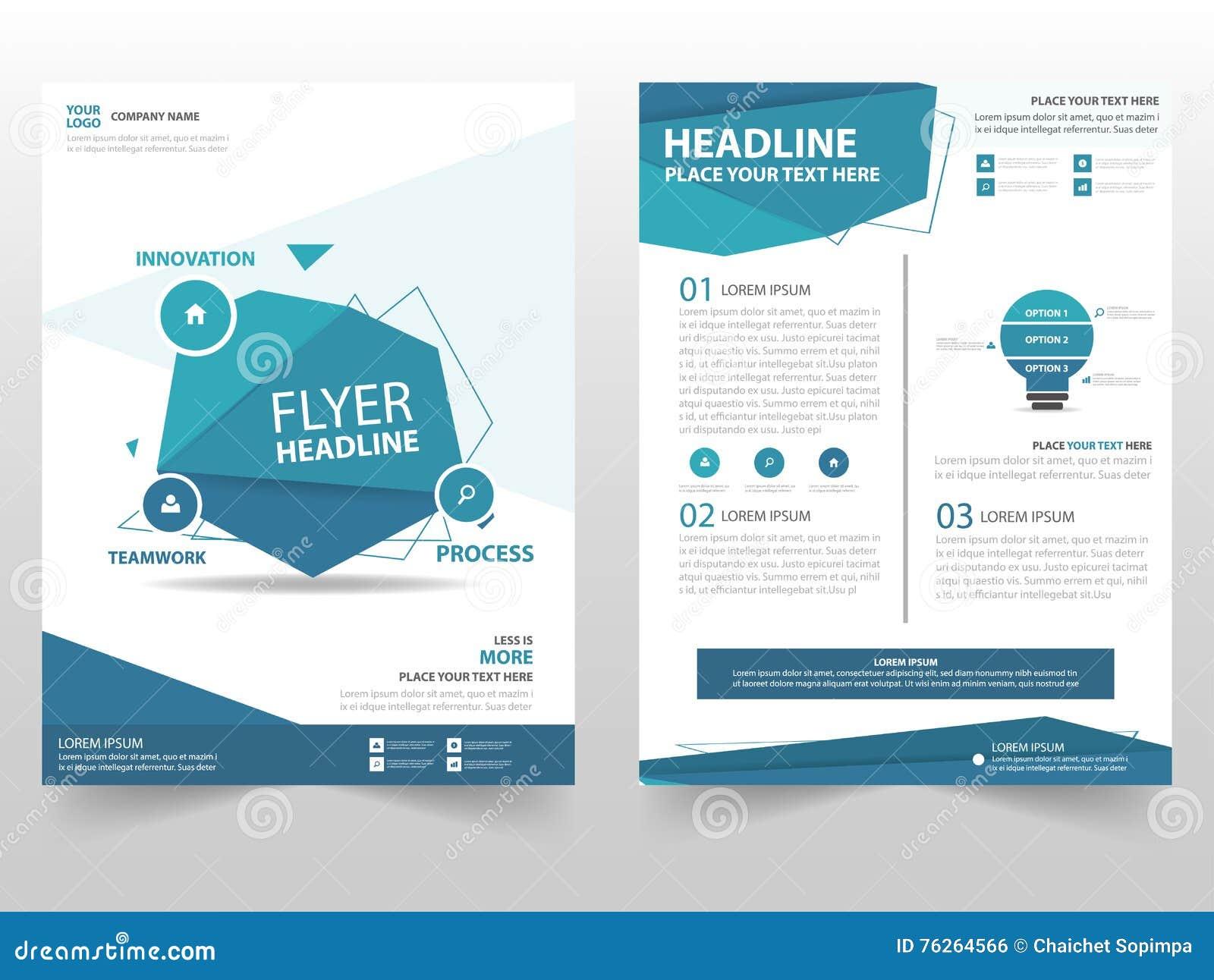 Conception bleue de calibre d insecte de tract de brochure de vecteur de polygone, conception de disposition de couverture de liv