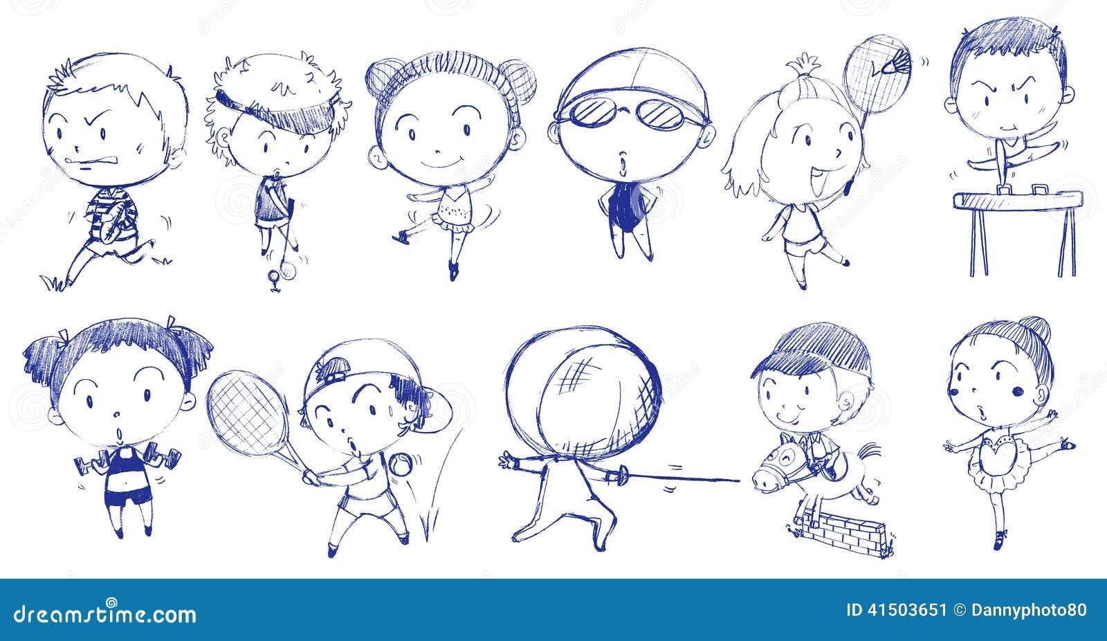 Conception bleue de griffonnage des personnes jouant avec les différents sports