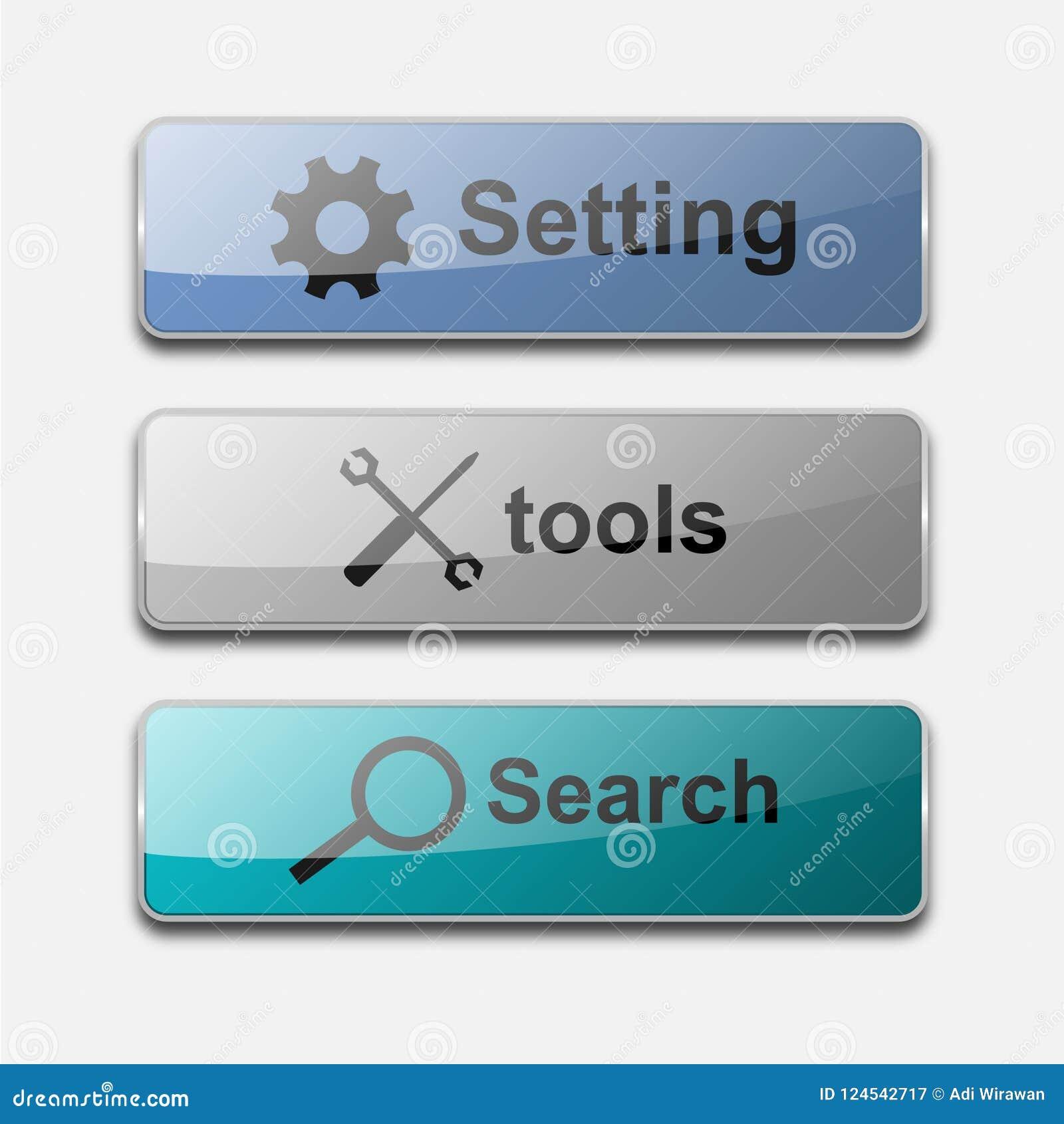 Conception brillante de vecteur de bouton de Web d action de 3 D