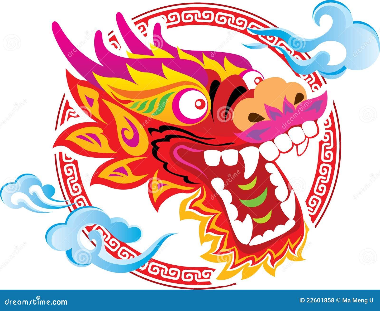 Conception Chinoise D Art De Tête De Dragon De Couleur Illustration