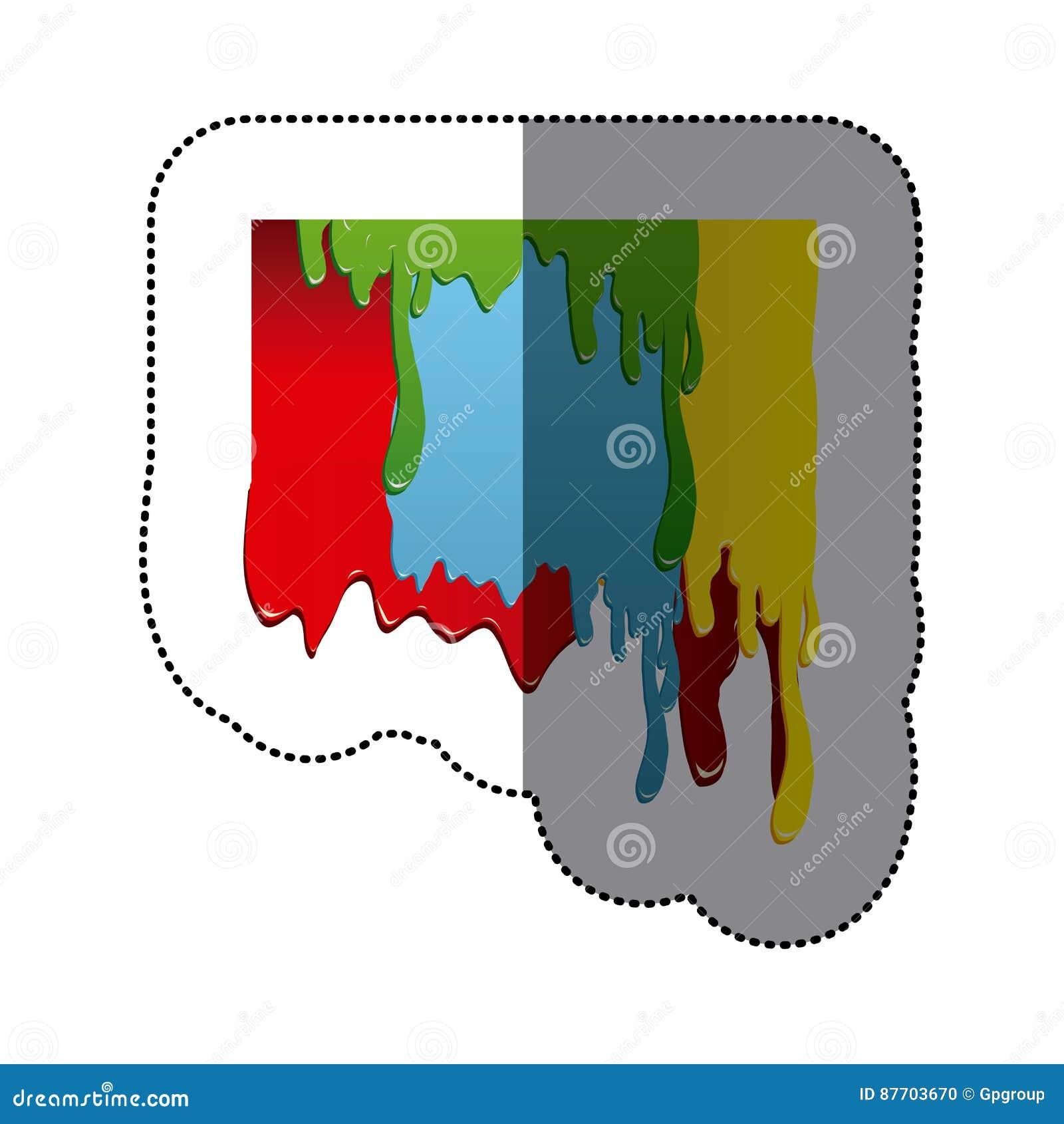 Conception colorée d égoutture de peinture artistique d autocollant