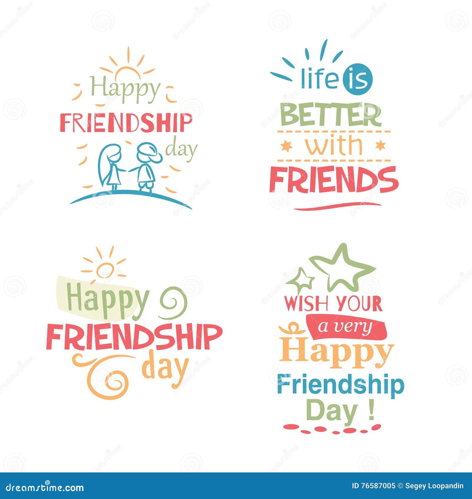 Conception colorée typographique d amitié de vecteur heureux de jour
