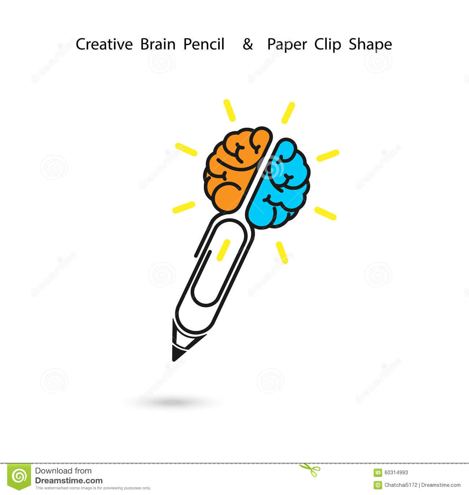 Conception créative de logo de crayon de cerveau, signe de trombone Concept d ide