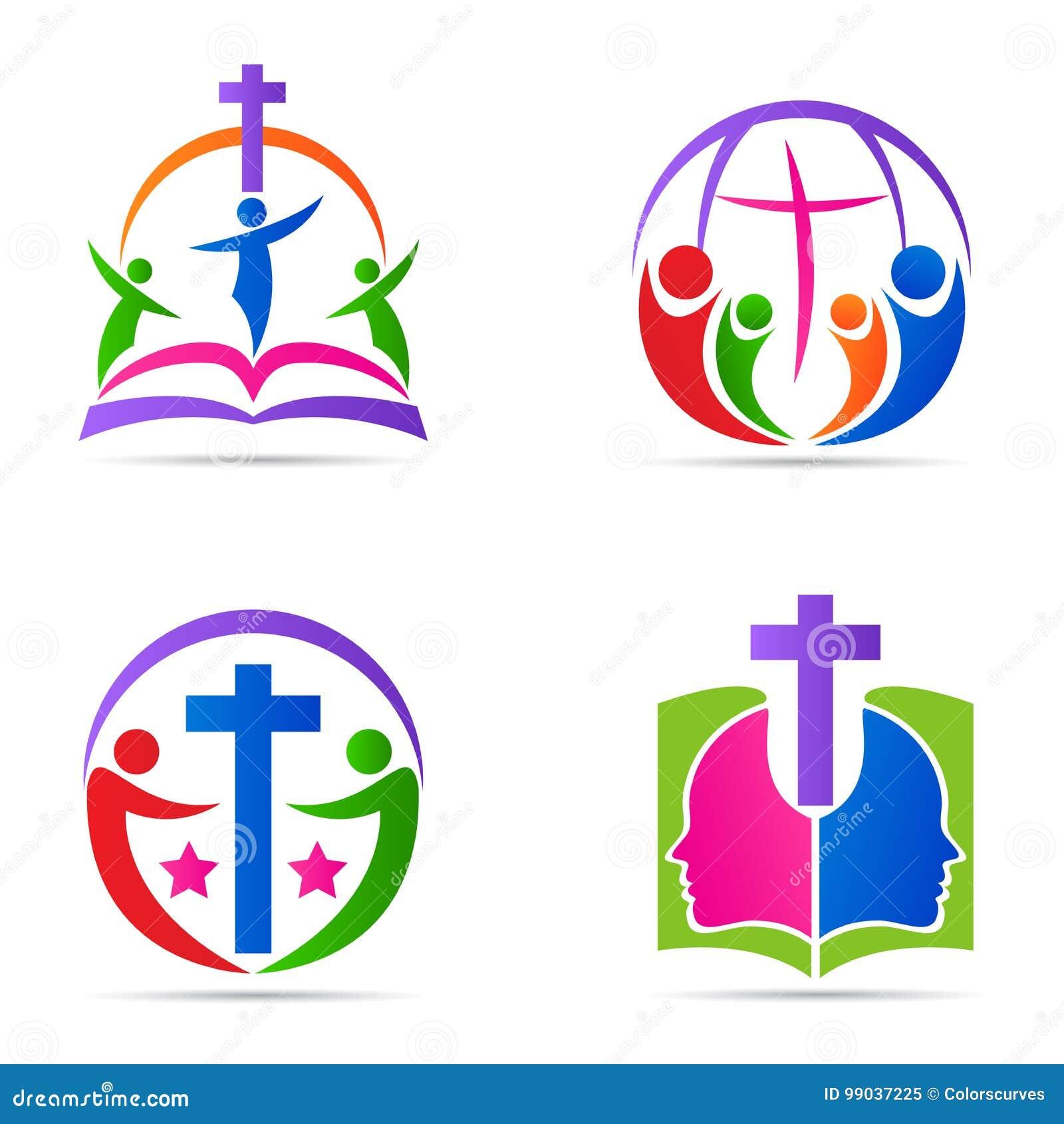 Conception croisée d icône de vecteur de symbole de religion d église de famille de bible de logo de personnes