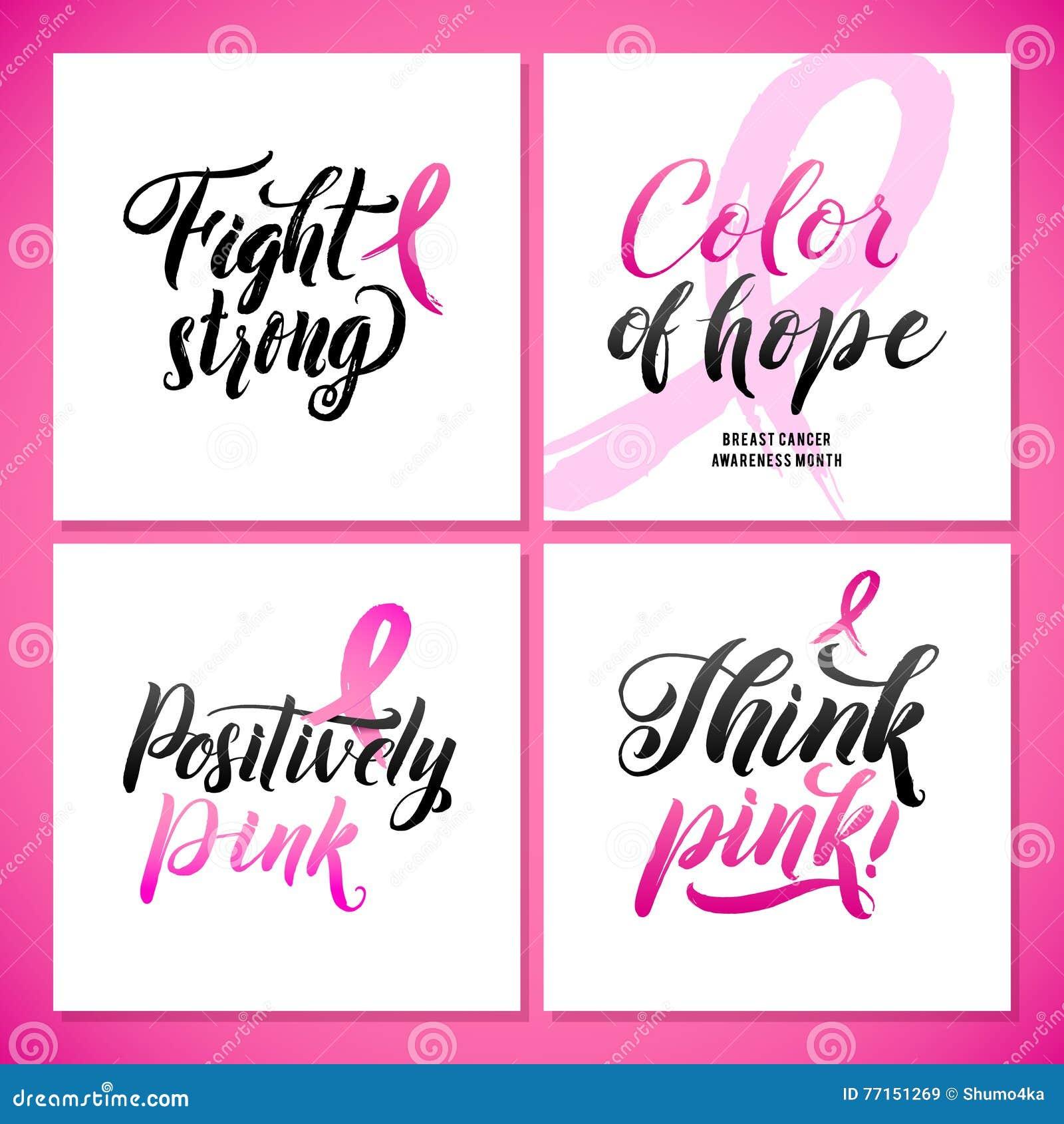 Conception d affiche de calligraphie de conscience de cancer du sein de vecteur Ruban rose de course