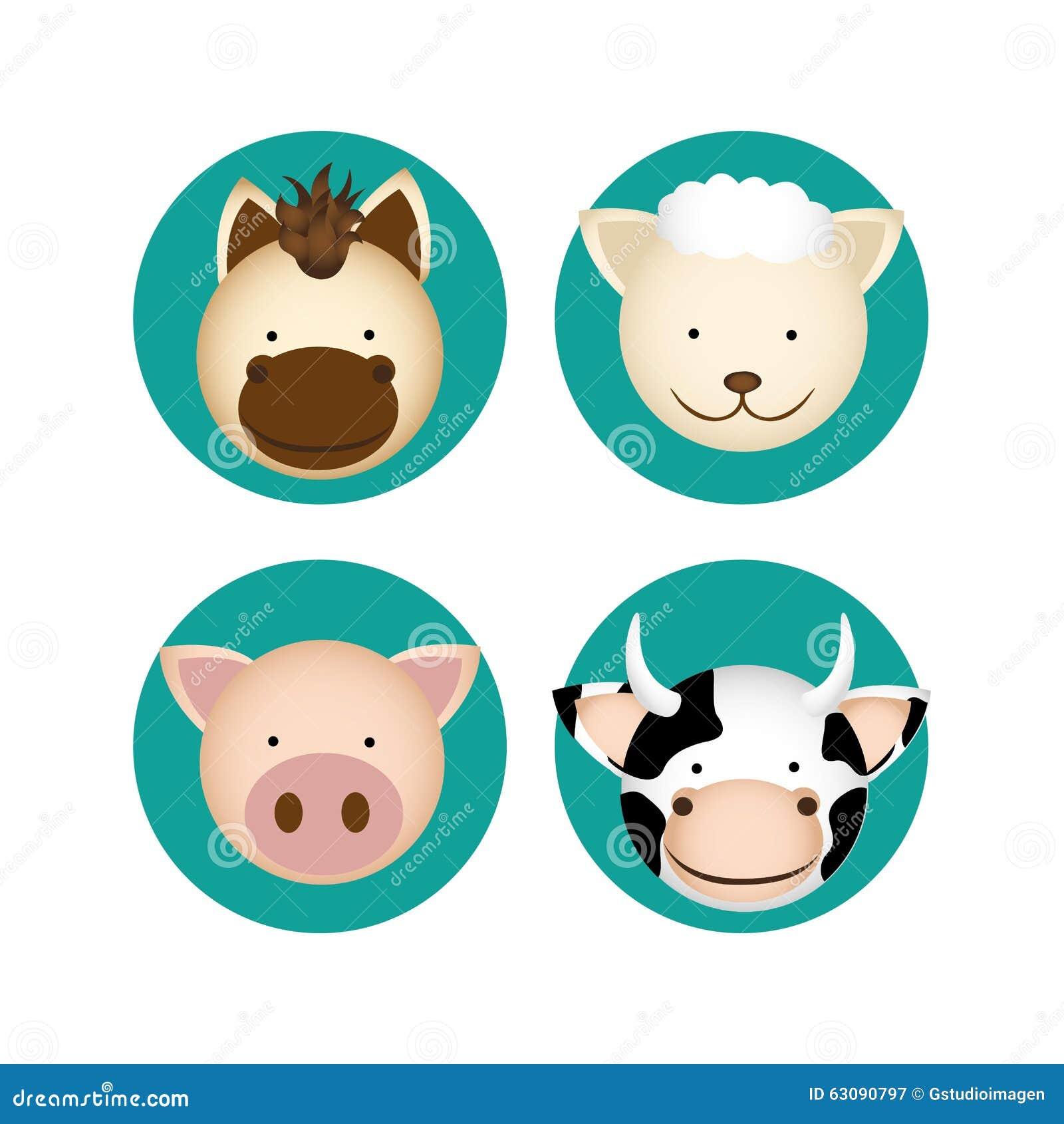 Download Conception D'animaux De Ferme Illustration Stock - Illustration du conception, concept: 63090797
