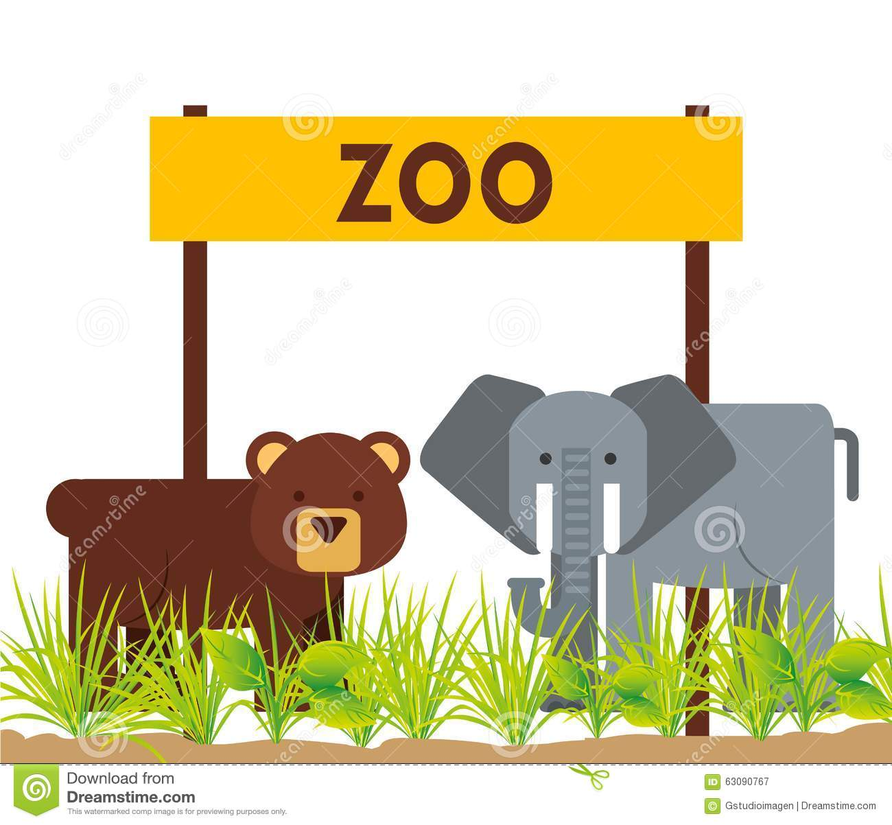 Download Conception D'animaux De Zoo Illustration de Vecteur - Illustration du herbe, illustration: 63090767