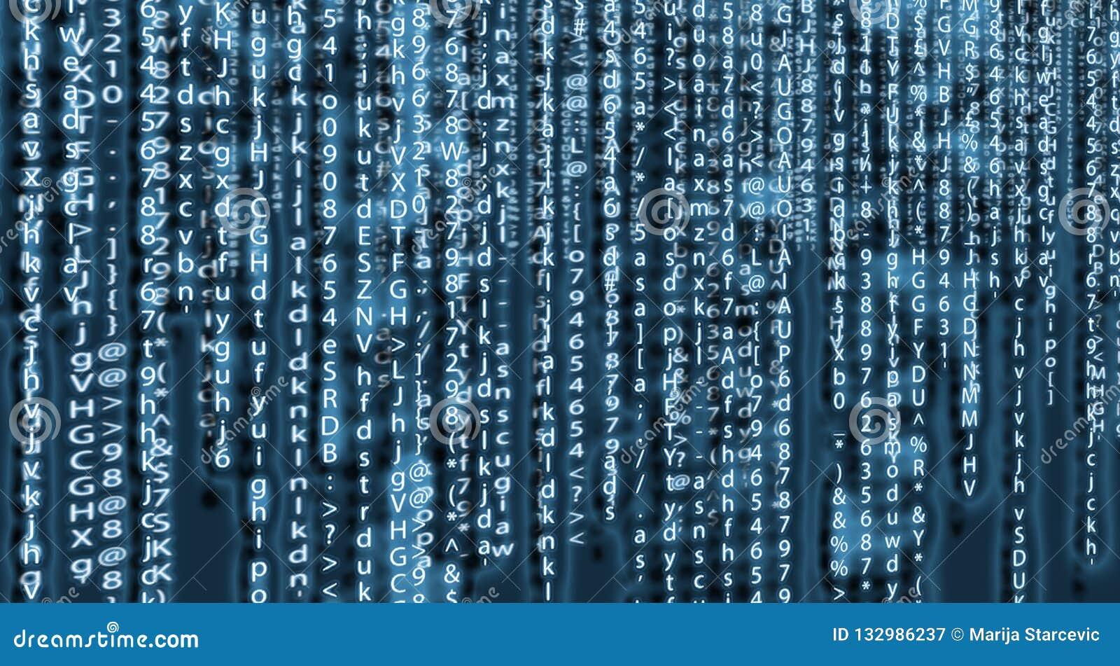 Conception d art de fond de matrice d ordinateur Chiffres sur l écran Données graphiques de concept de résumé, technologie, décry