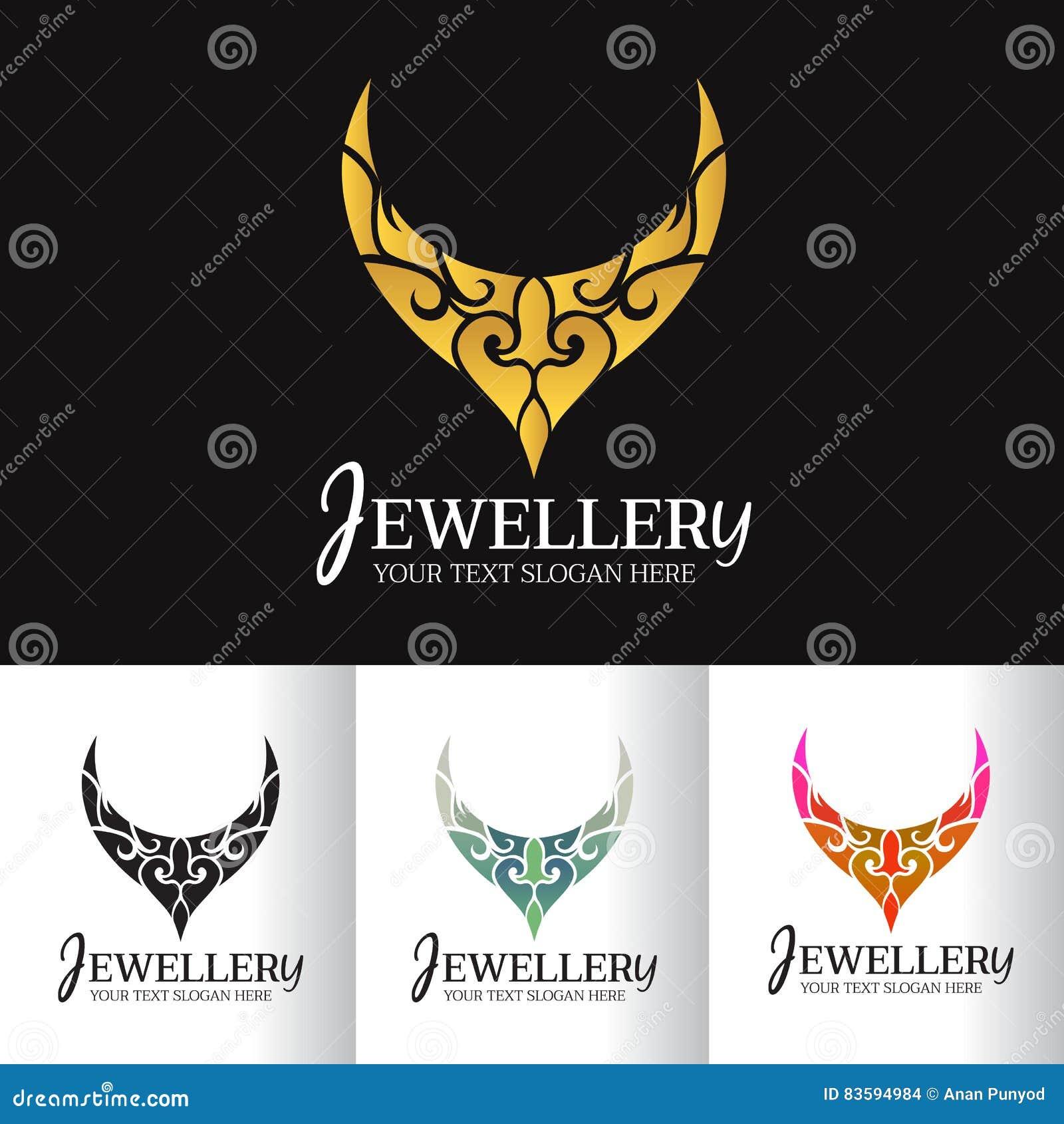Conception d art de vecteur de logo d abrégé sur collier de bijoux