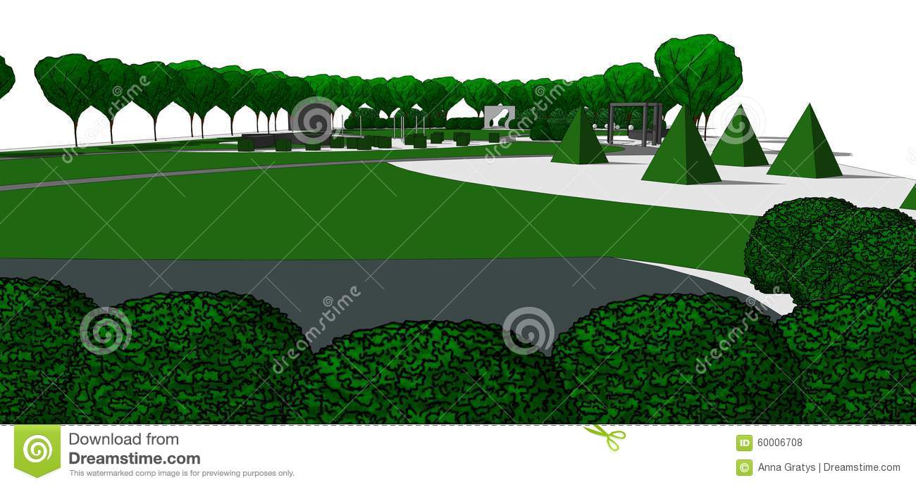 Conception 3d de jardin illustration stock illustration for Formation conception de jardin