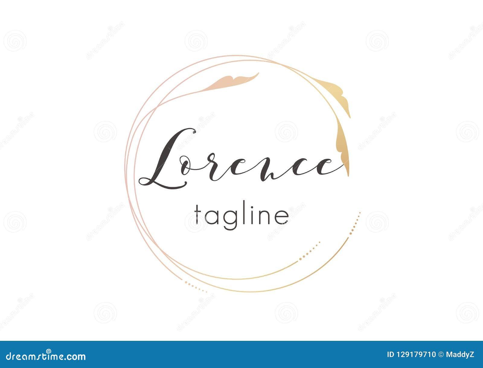 Conception d or de logo de Premade avec la conception florale minimalistic Calibre féminin de logotype dans le style artistique é