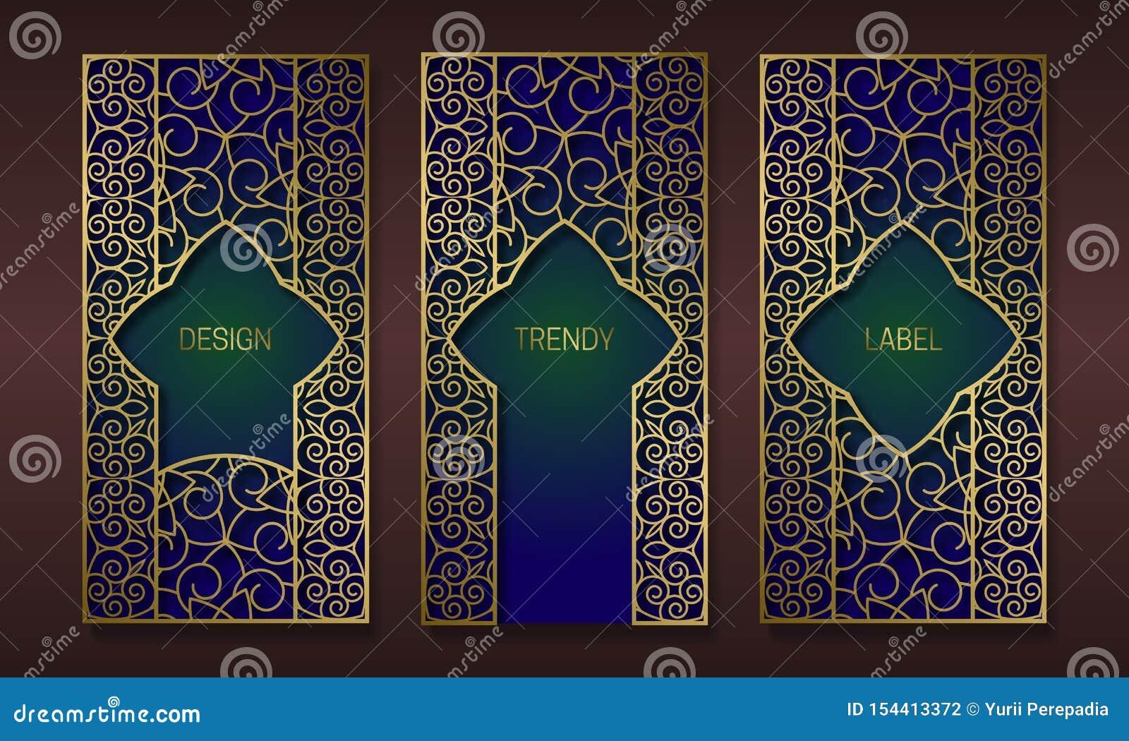 Conception d emballage d or de cru dans le style oriental Placez des calibres fleuris de labels pour les marchandises à la mode M