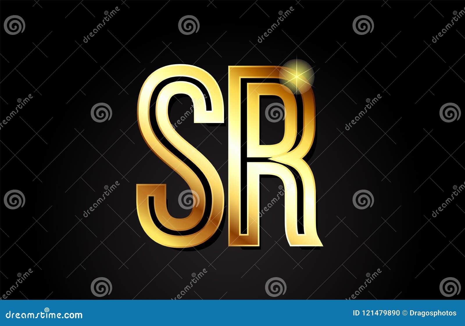 Conception d icône de combinaison de logo du Sr s r de lettre d alphabet d or