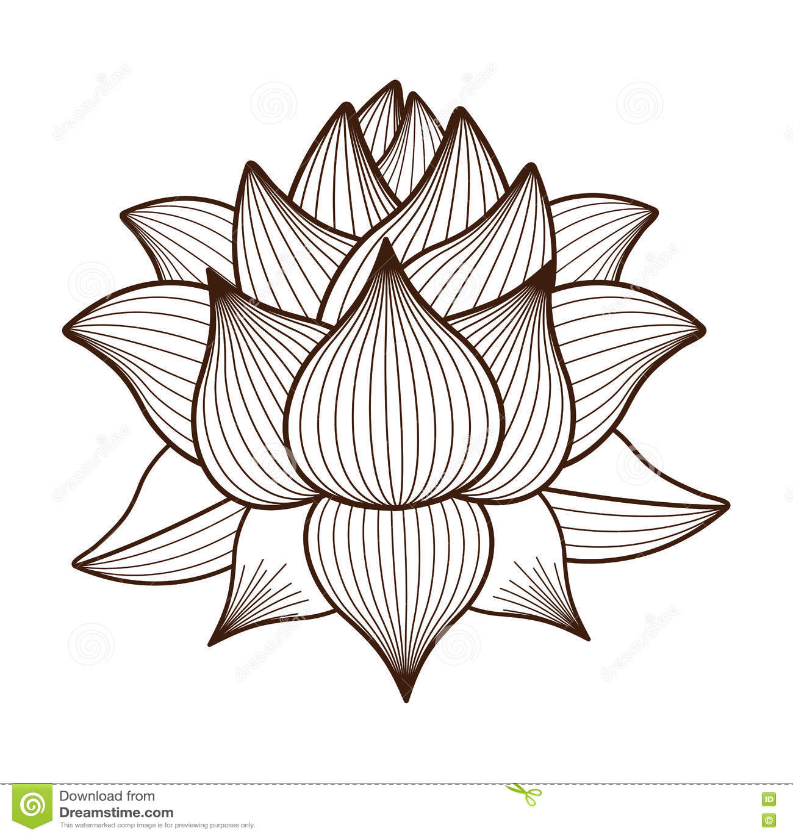 conception d 39 ic ne d 39 isolement par dessin de fleur de lotus illustration de vecteur. Black Bedroom Furniture Sets. Home Design Ideas