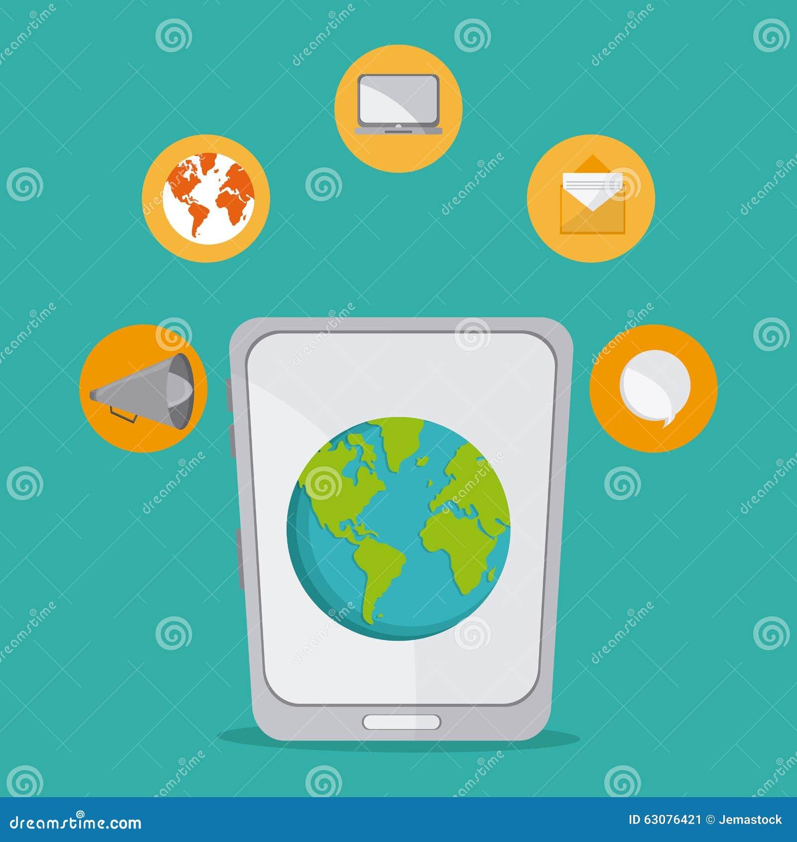 Download Conception D'icônes De Communication Illustration de Vecteur - Illustration du contact, nouvelles: 63076421