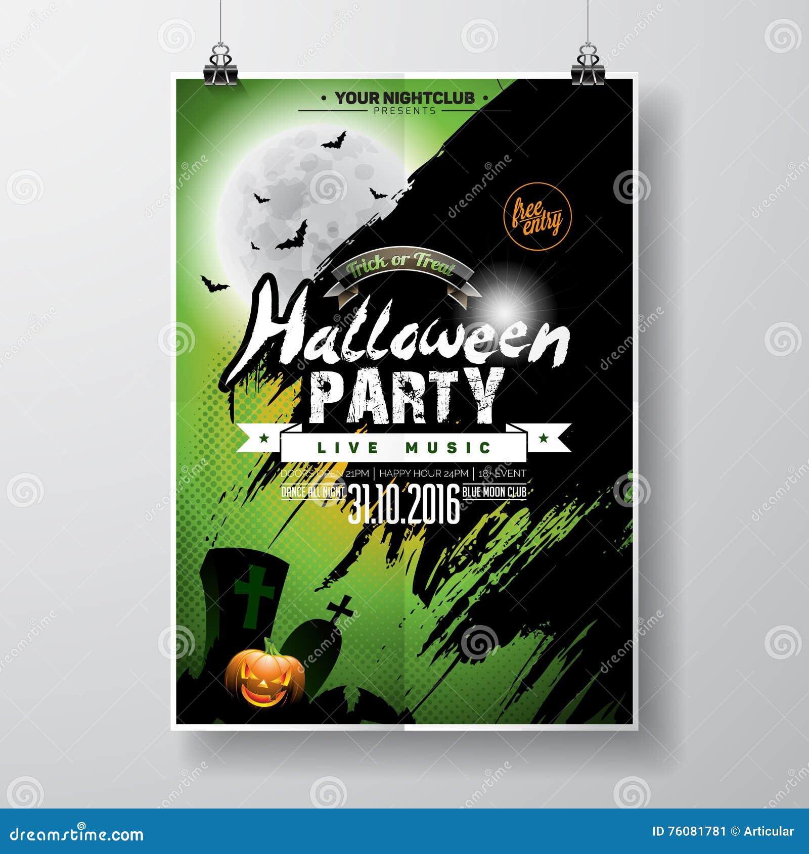 Conception d insecte de partie de Halloween de vecteur avec les éléments et le potiron typographiques sur le fond vert Tombes, ba
