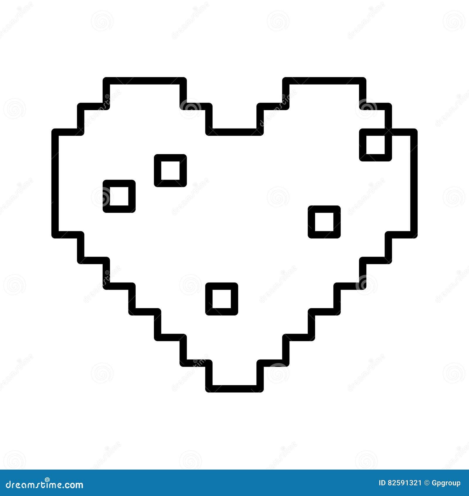 Conception Disolement De Coeur De Pixel Illustration De