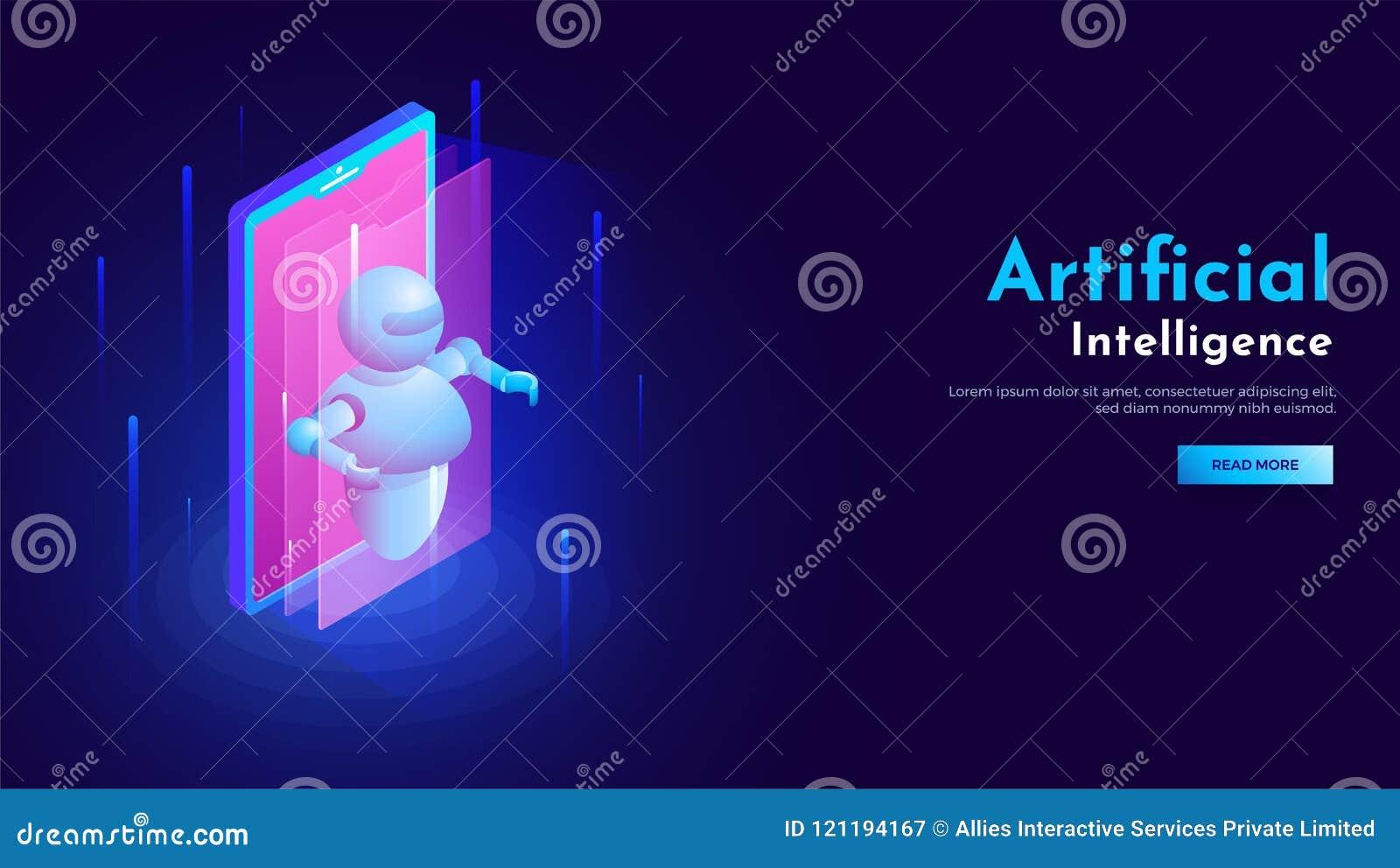 Conception 3D isométrique de smartphone avec l illustration de robot pour l AR