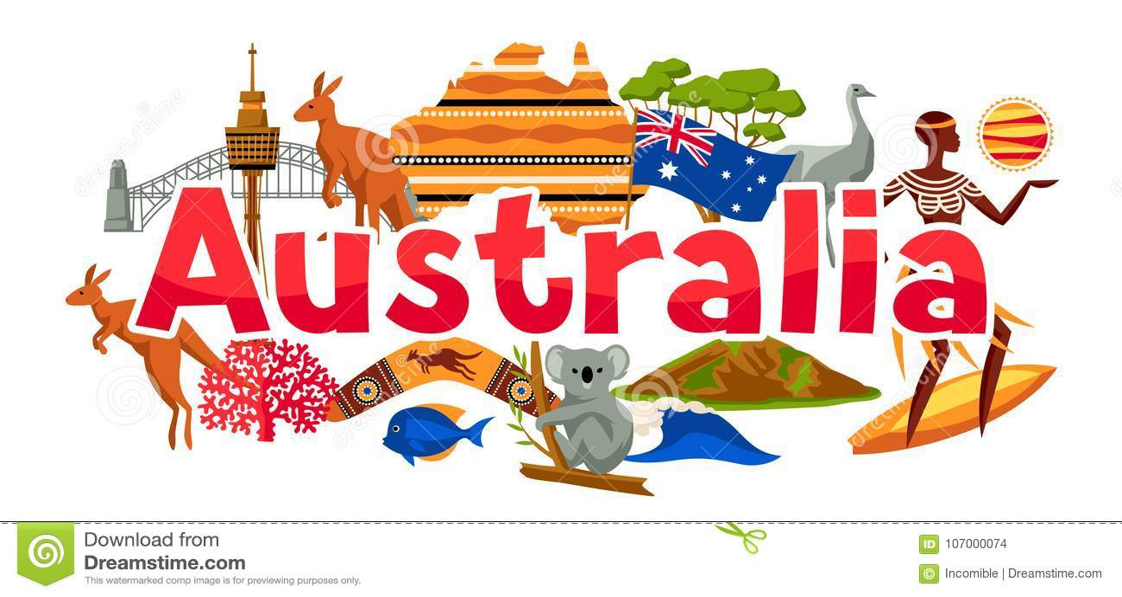 Conception de bannière d Australie Symboles et objets traditionnels australiens